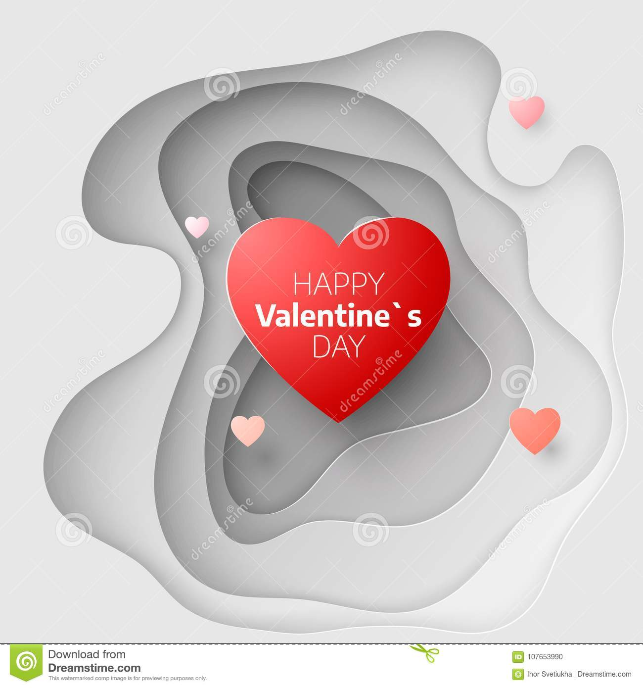 Paper Art Concept Of Valentines Day February 14 Greeting Card Cover