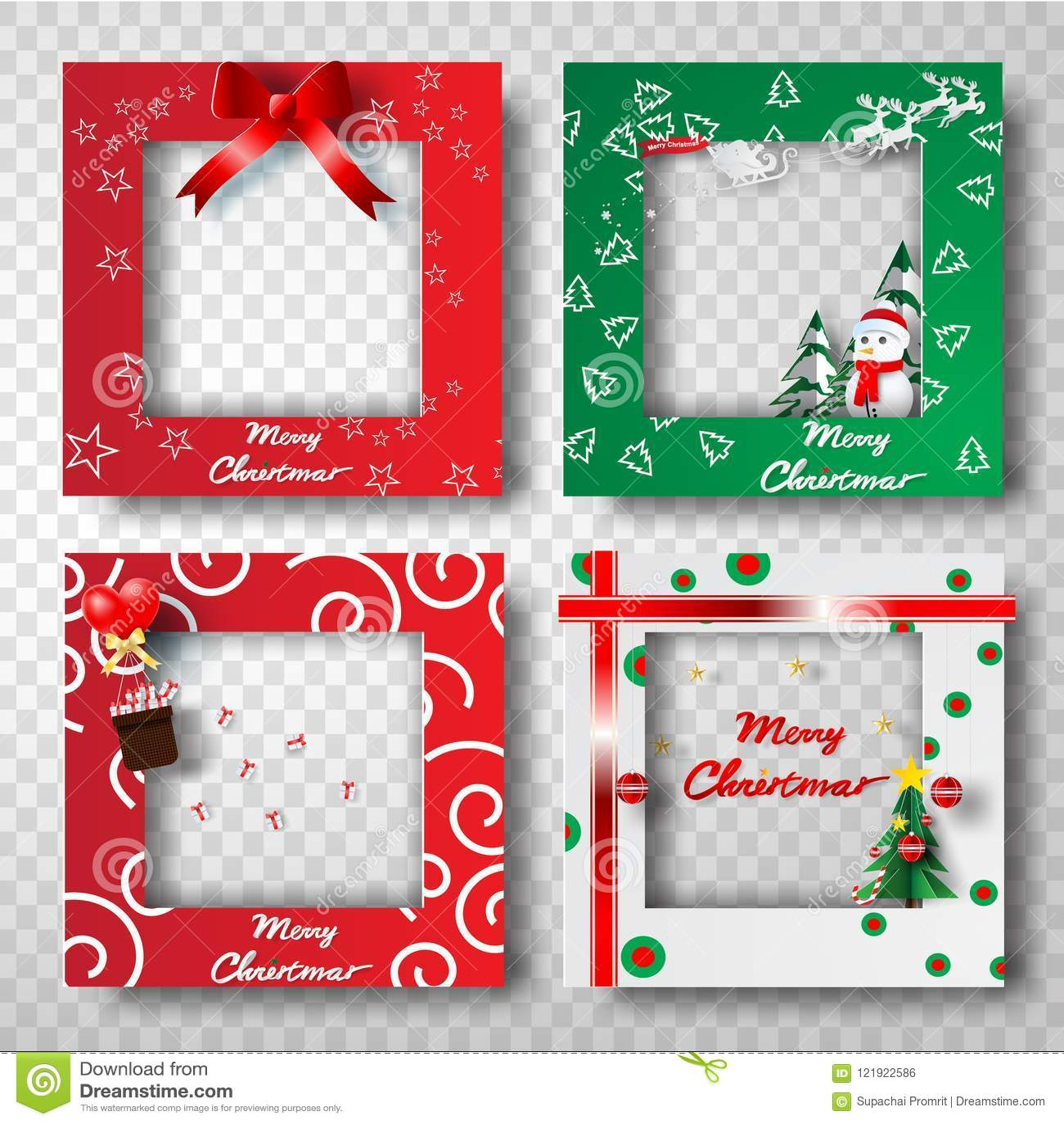 Paper Art And Craft Of Christmas Border Frame Photo Design Set T