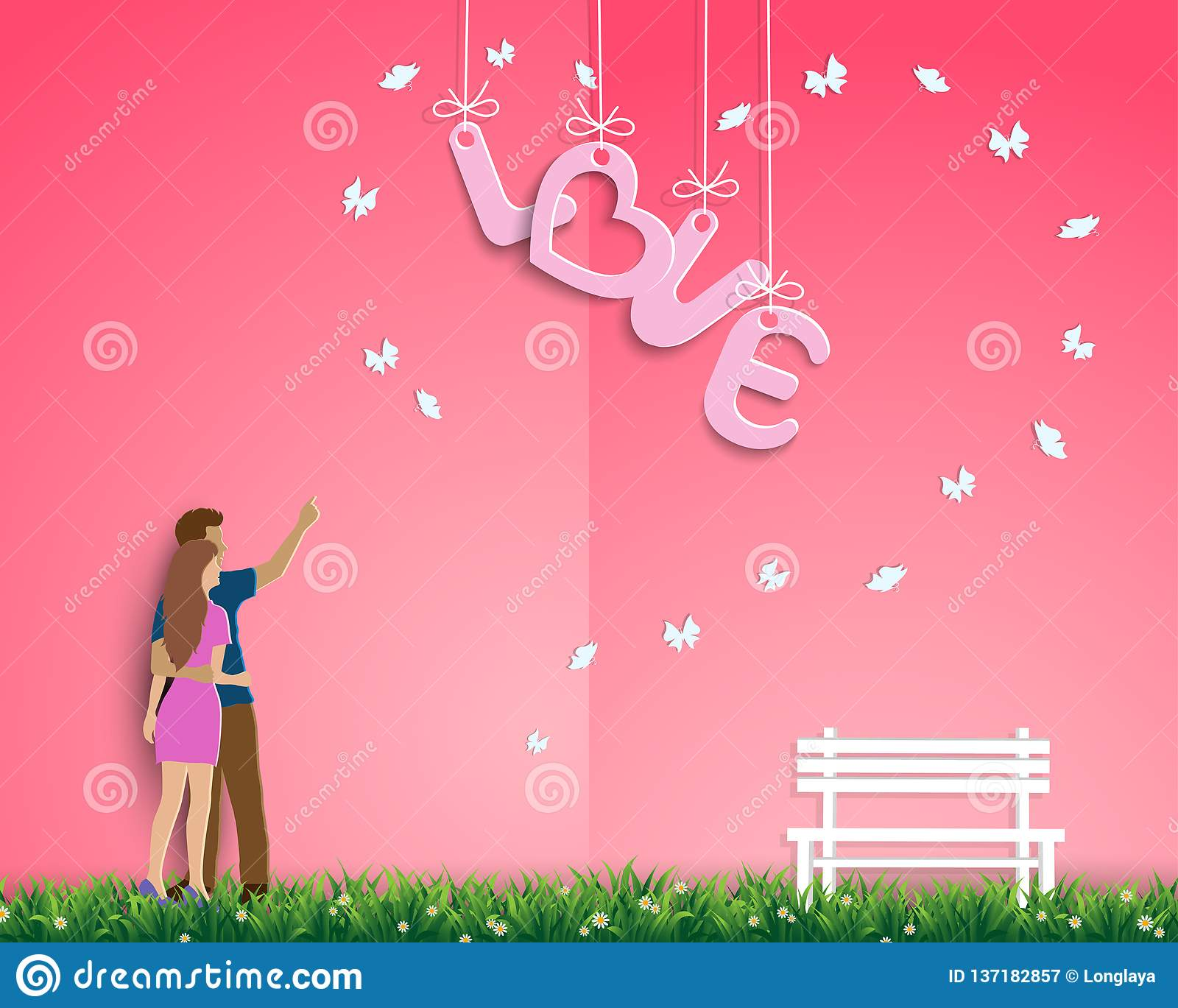 Paper art design with couple standing in the garden of love,for happy Valentine`s day,greeting card or poster