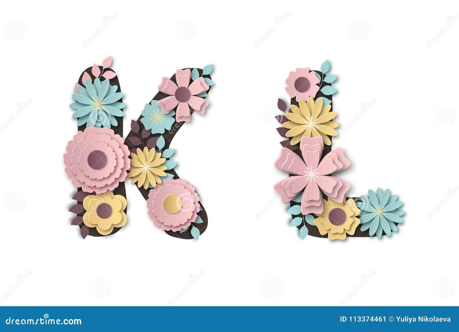 Paper Art Flower Alphabet Beautiful Romantic Gentle Letters In