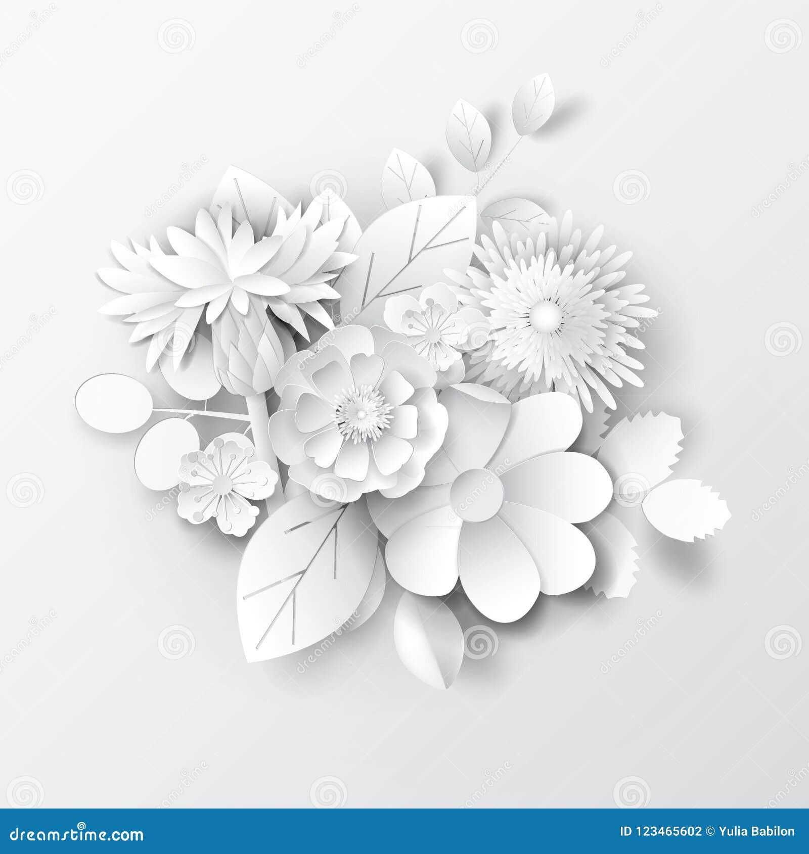 Paper Art Flowers Background Vector Stock Stock Illustration