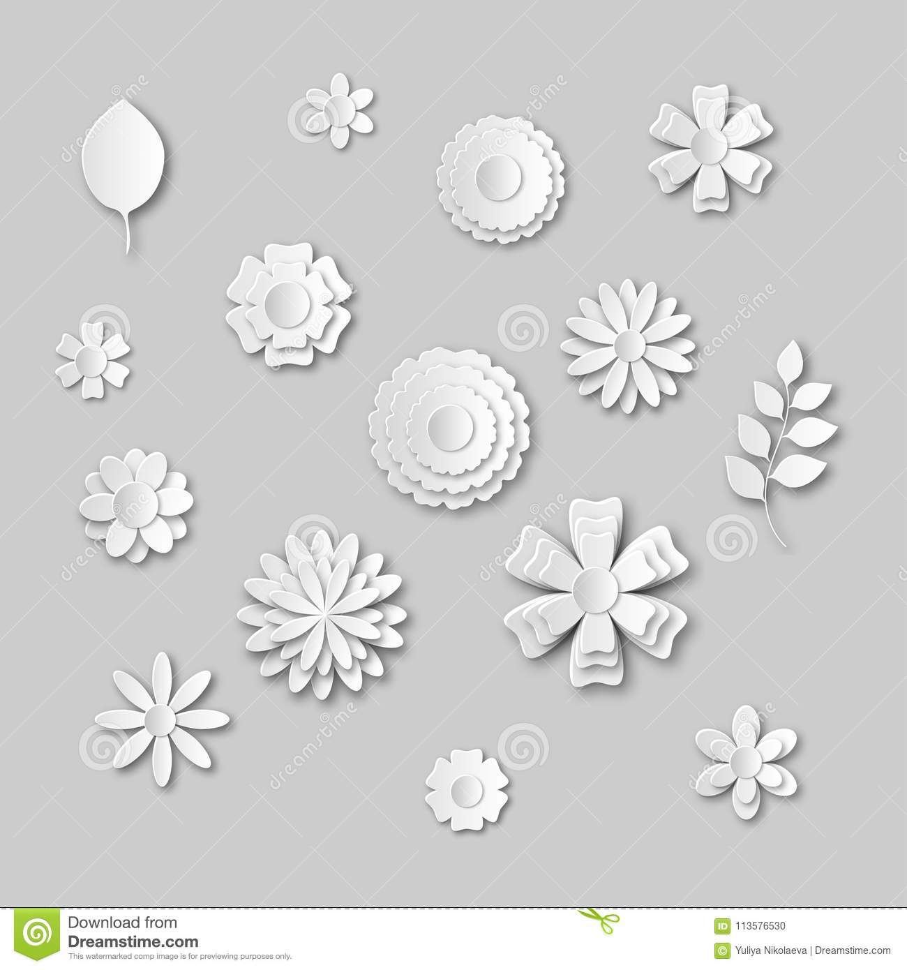 Paper Art Flowers Set Gray Scale White Abstract Flower Stock