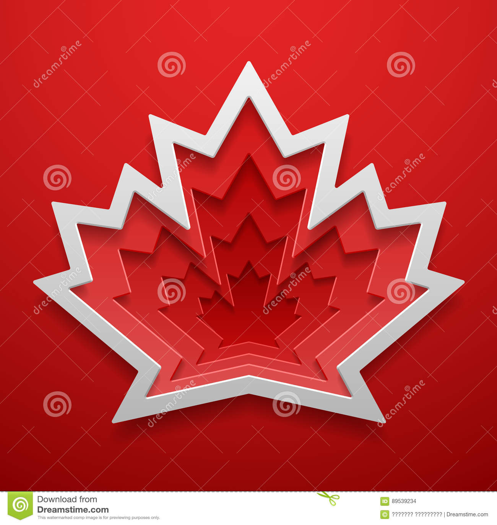 Paper Art Of Maple Leaf Shape Canadian Symbol Decoration Template