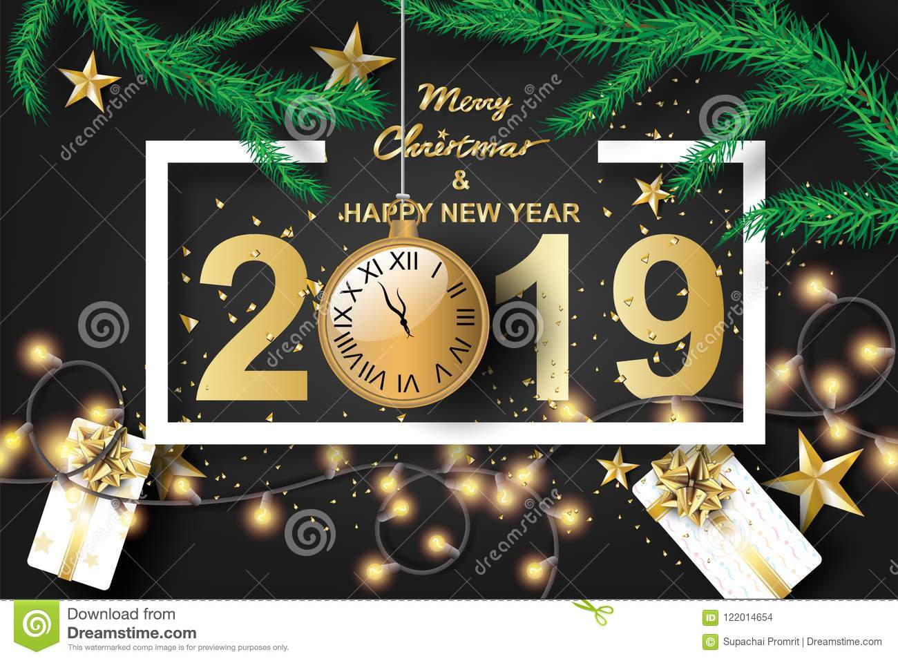 Paper Art Of Merry Christmas And Happy New Year 2019 With Black ...