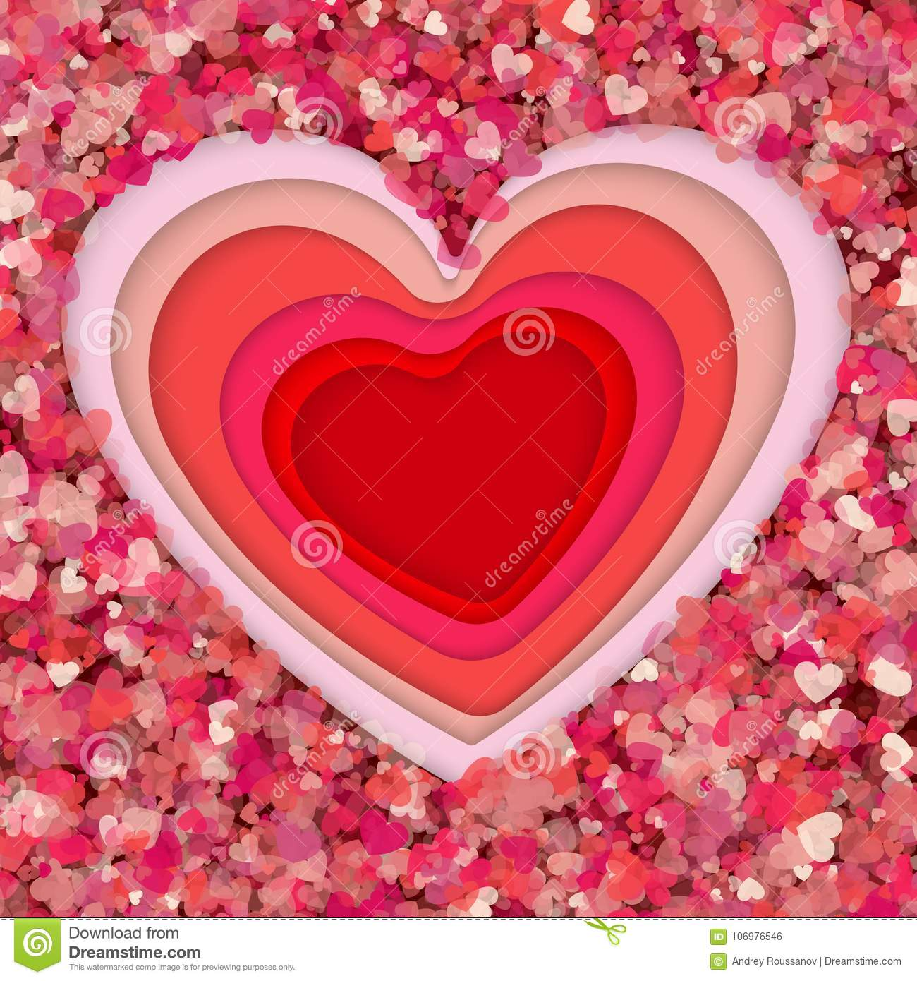 Paper Art Origami Flowers And Valentines Day Concept Vector