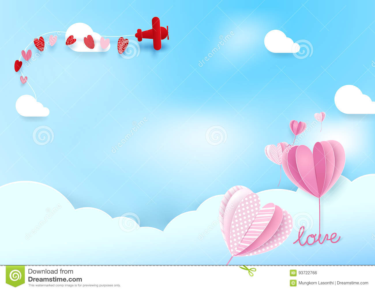 Paper art style Heart shape balloons flying in sky with airplane