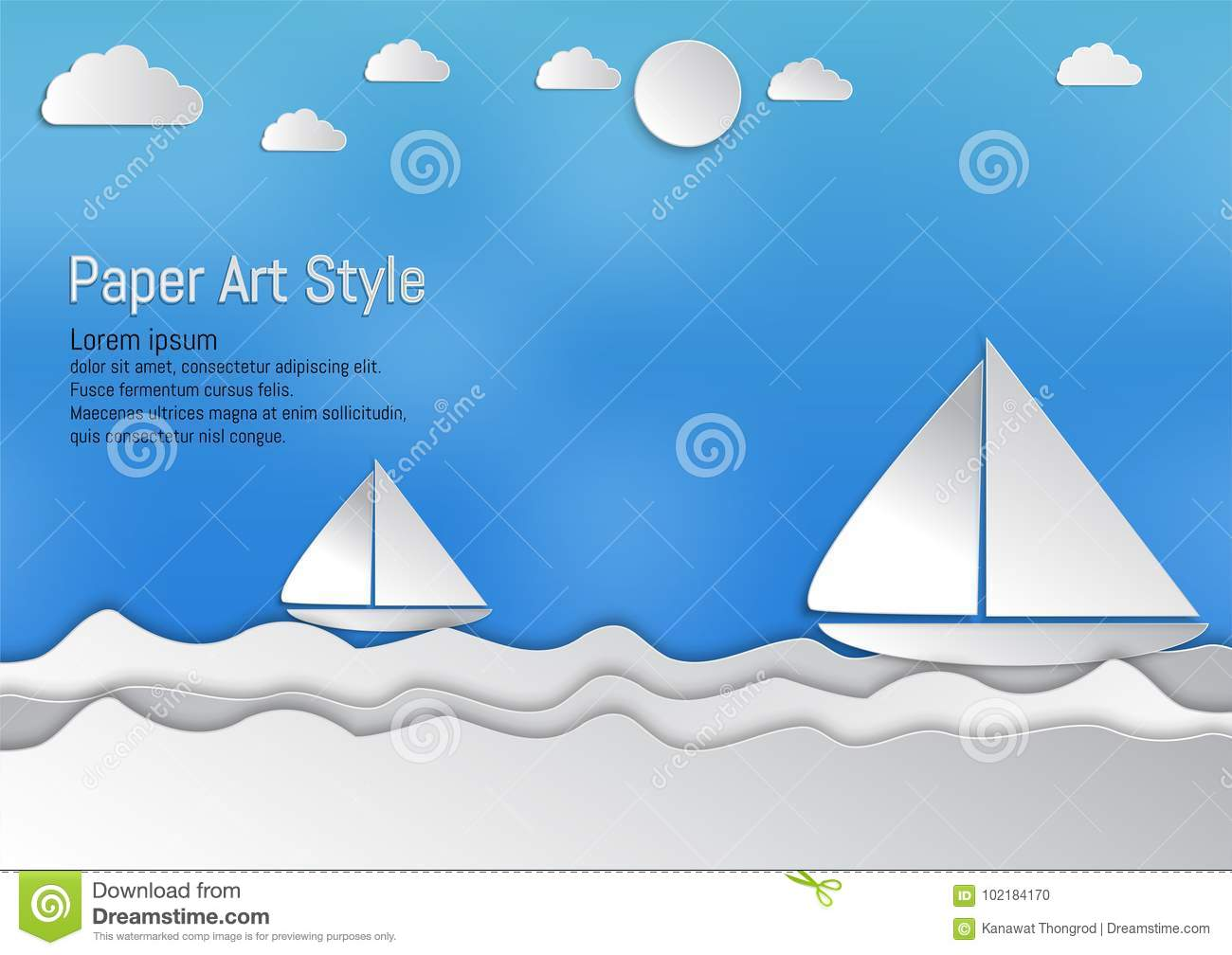 Paper art style, waves with sailboat and clouds, vector illustration