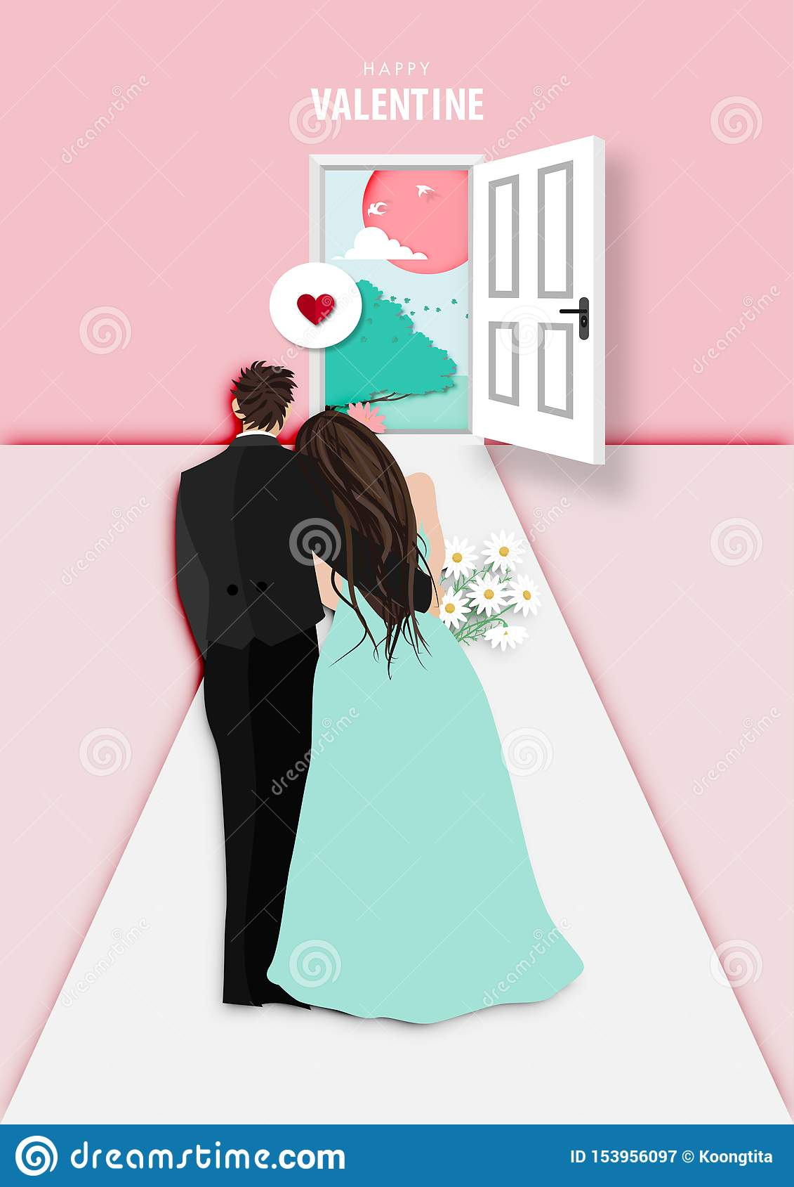 Paper art of valentine day festival with married couple looking to sunset outside vector