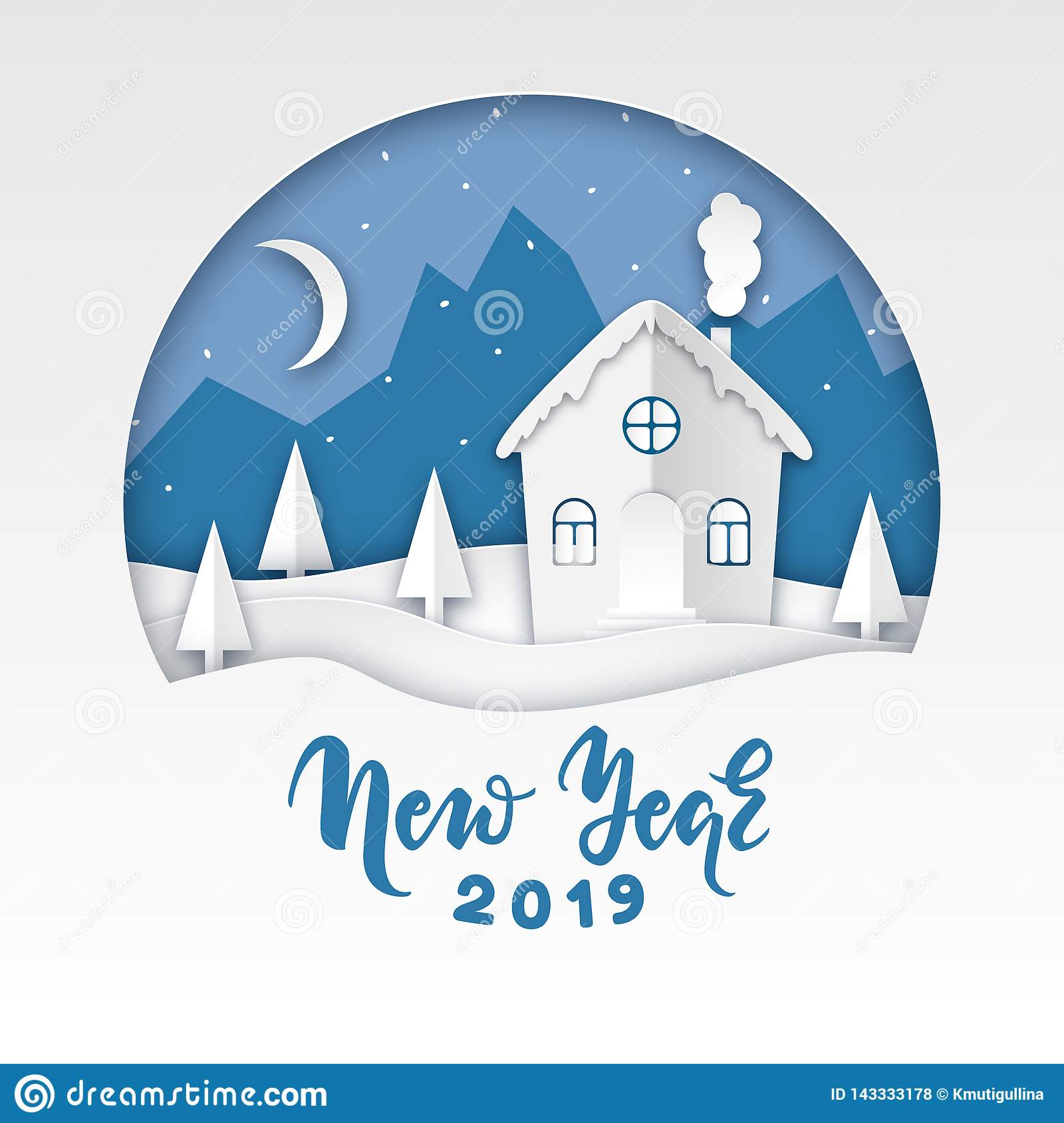 Paper art winter landscape vector illustration
