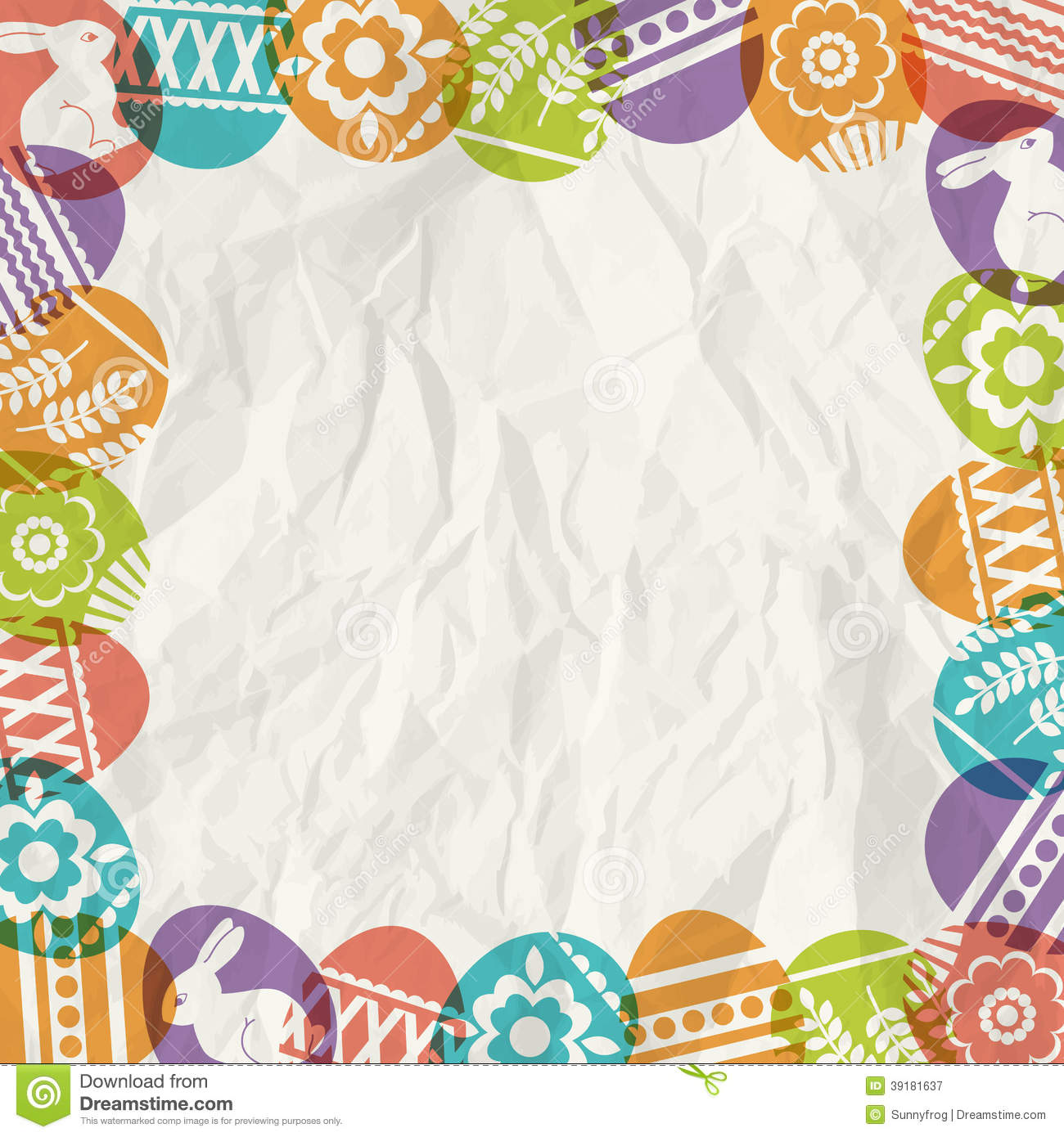 ... background with frame of colour easter eggs, vector illustration