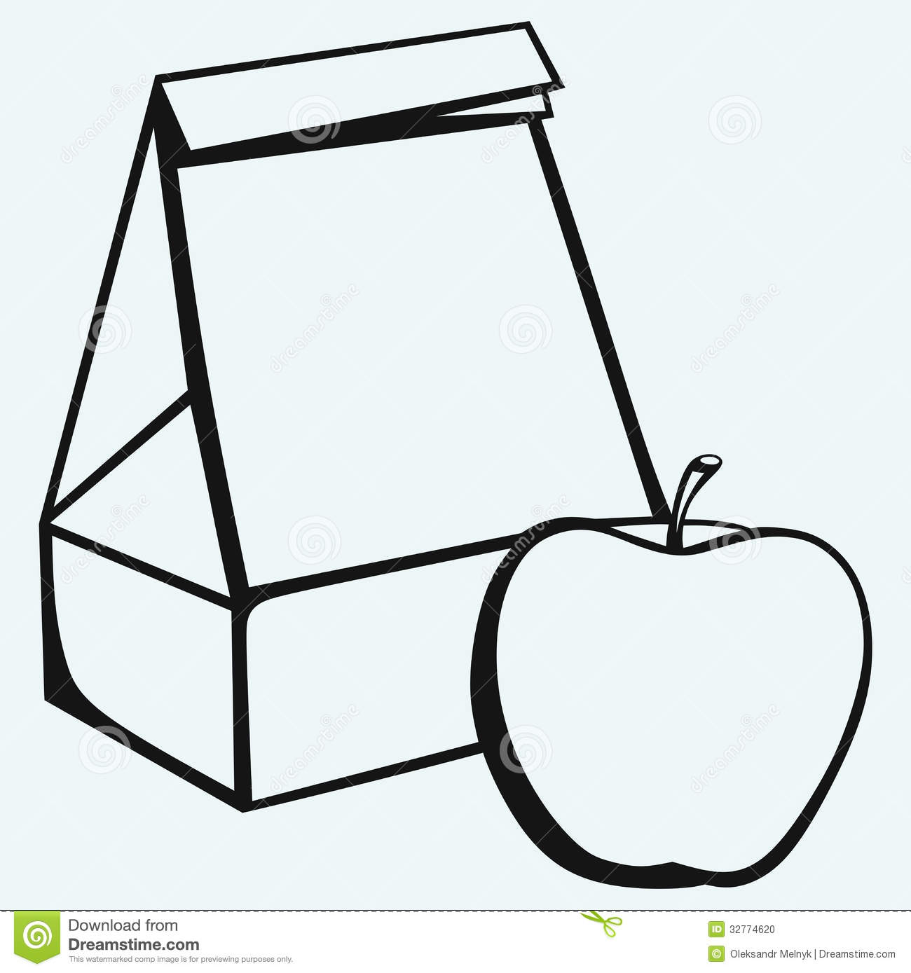 Paper bag and apple stock vector. Image of inexpensive ...