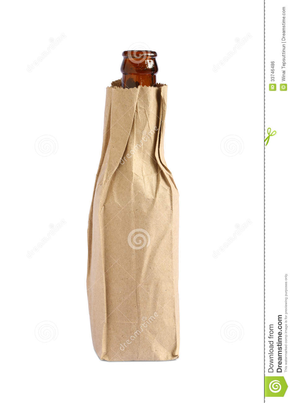 Paper bag with bottle royalty free stock image image 33746486