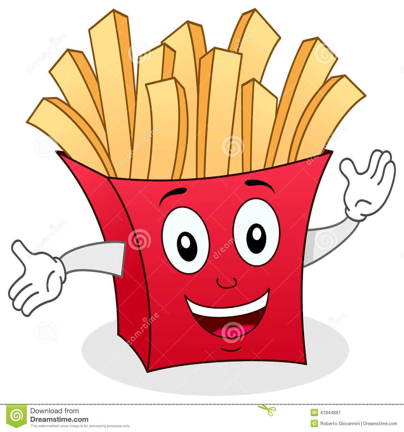 Paper Bag Character With French Fries Stock Vector