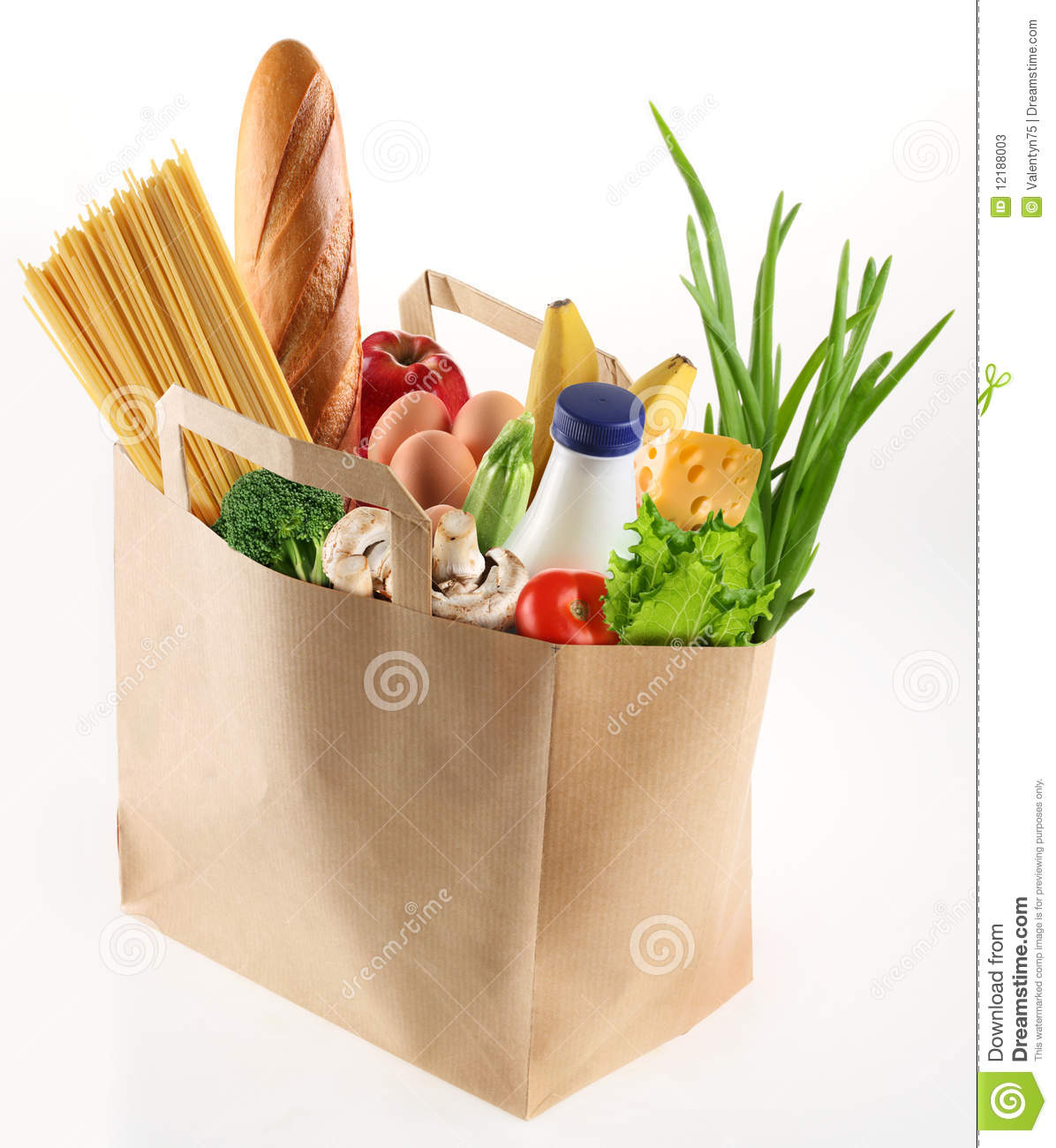 Paper bag with food stock image image of milk shopping for Shopping cuisine