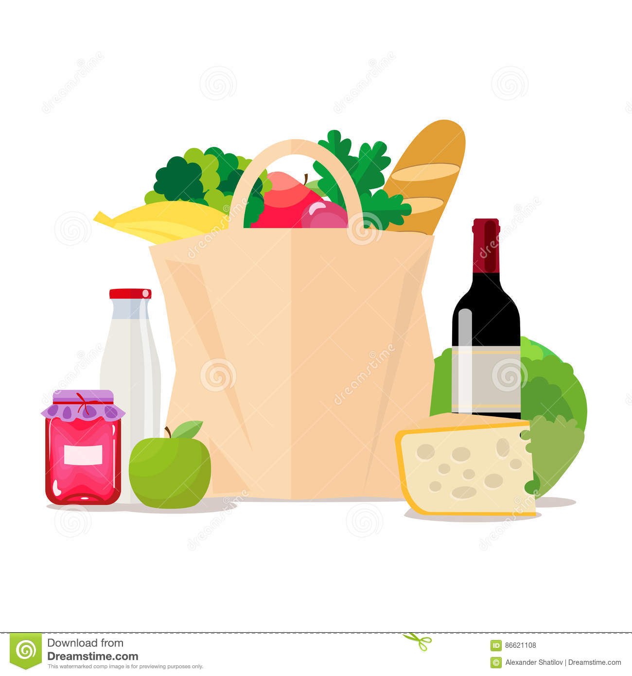 Paper bag with food. Shopping at the supermarket or grocery store. A set of healthy food. Vegetables and fruits, wine