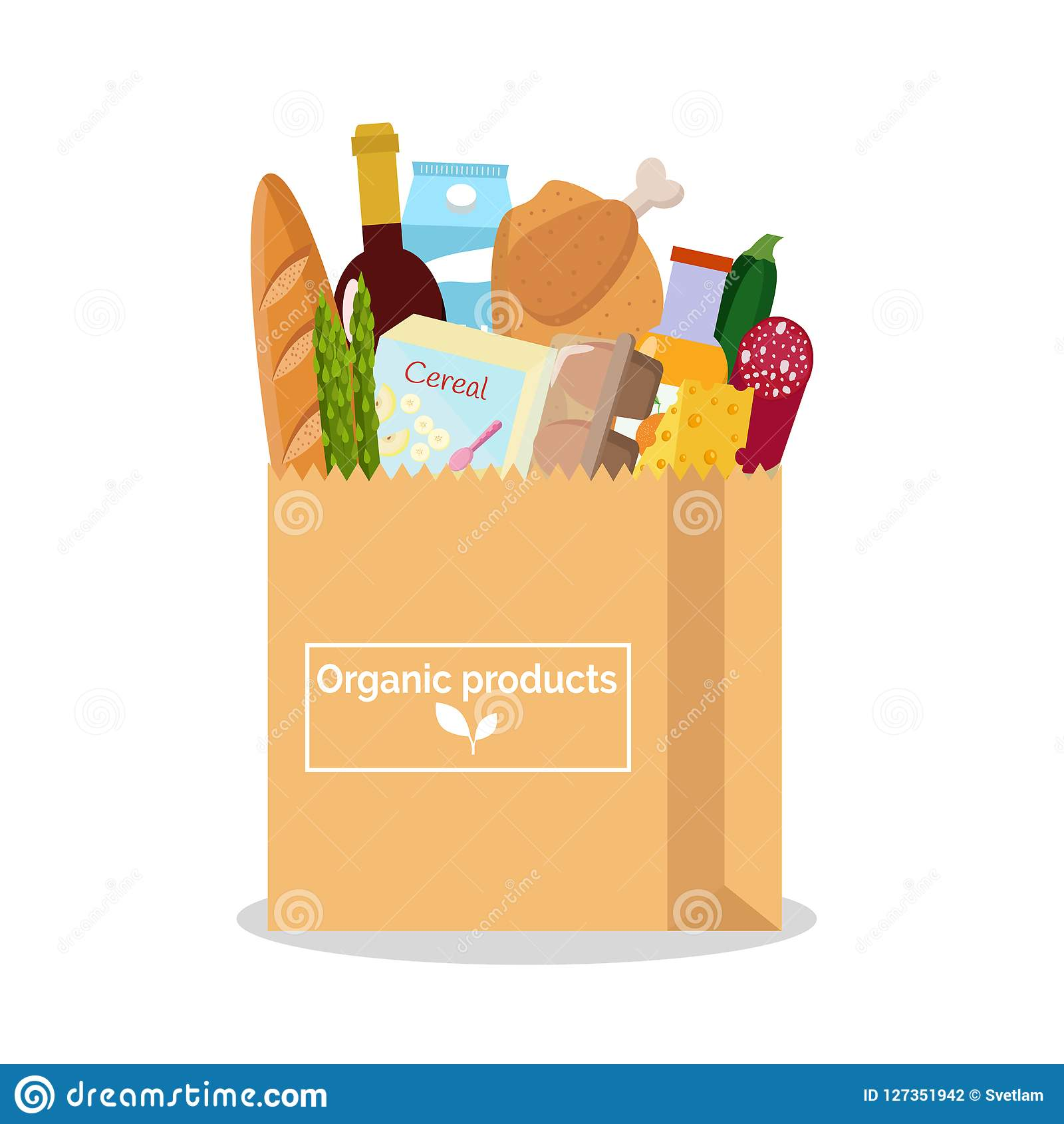 Paper Bag With Fresh Organic Food  Shopping At The Grocery