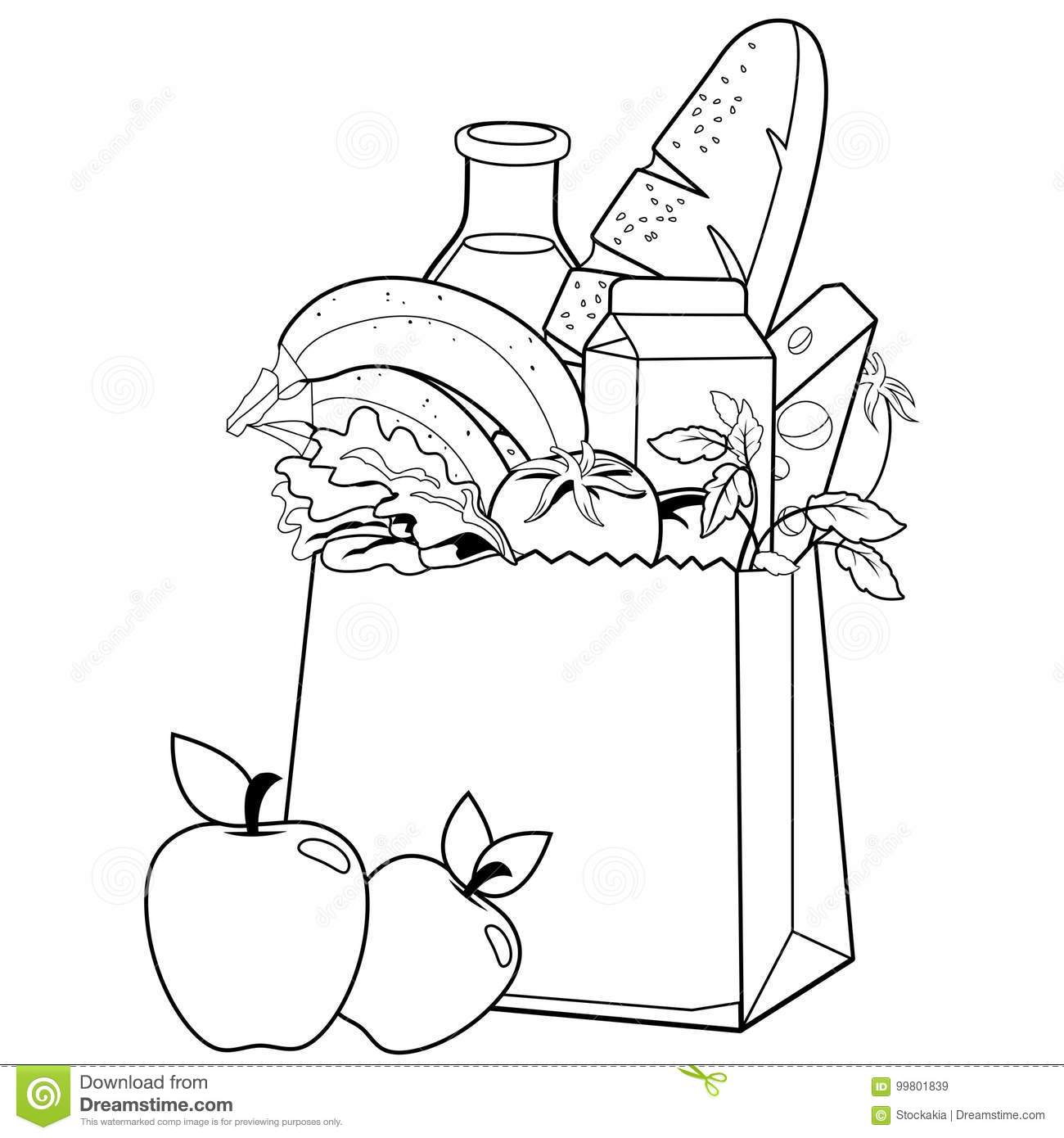 Bag With Groceries. Black And White Coloring Book Page Stock Vector ...