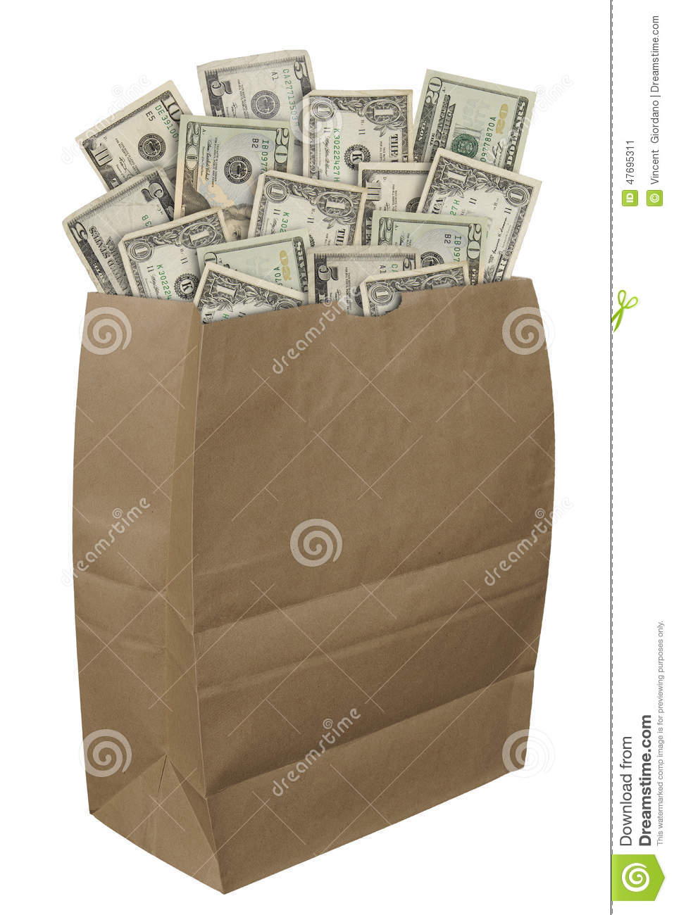 Paper Bag Of Money Stock Photo Image 47695311