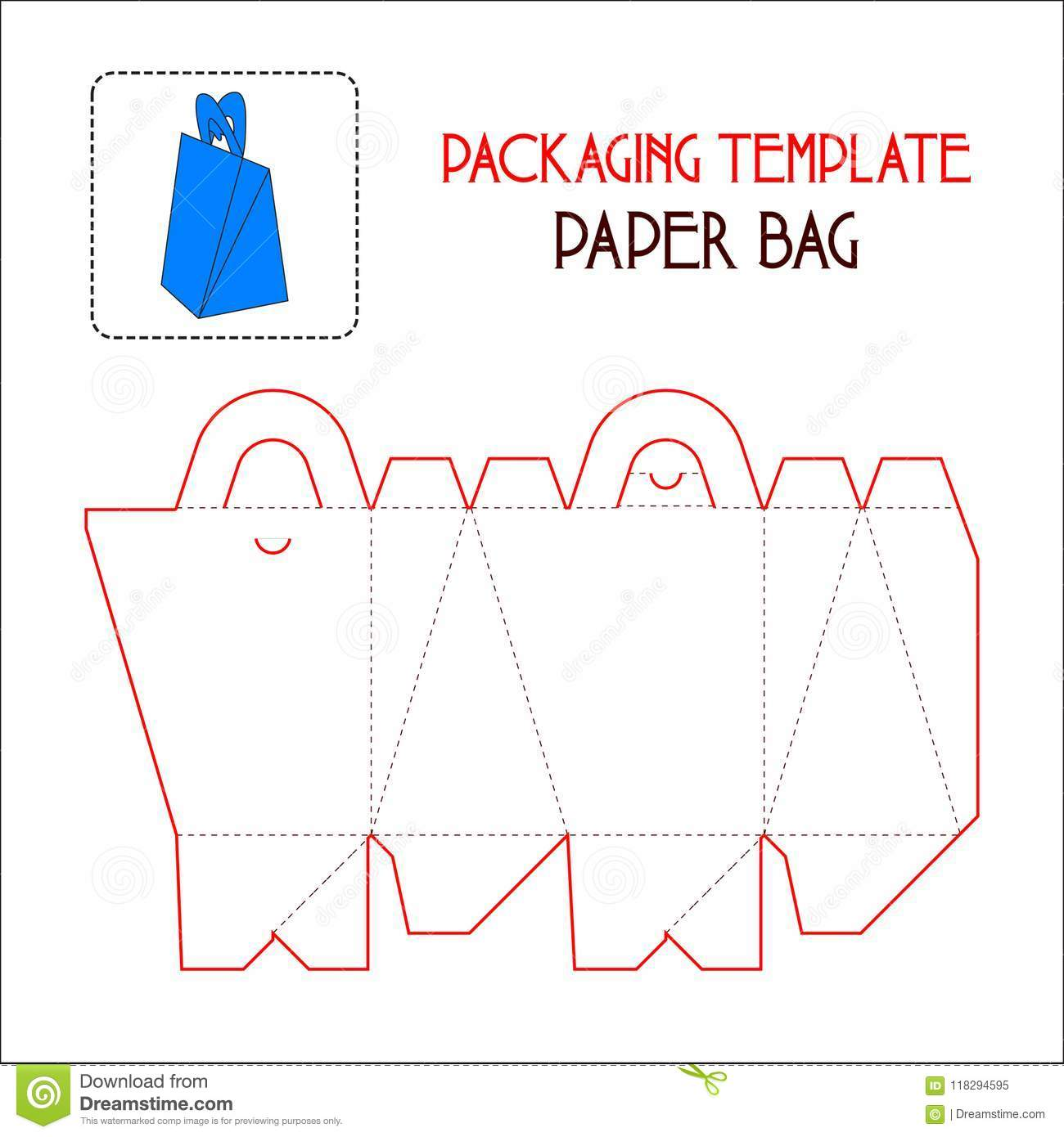 paper bag packaging template stock vector illustration of handraw