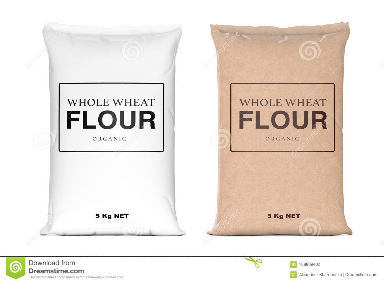 Paper Bags Of Whole Wheat Organic Flour 3d Rendering Stock