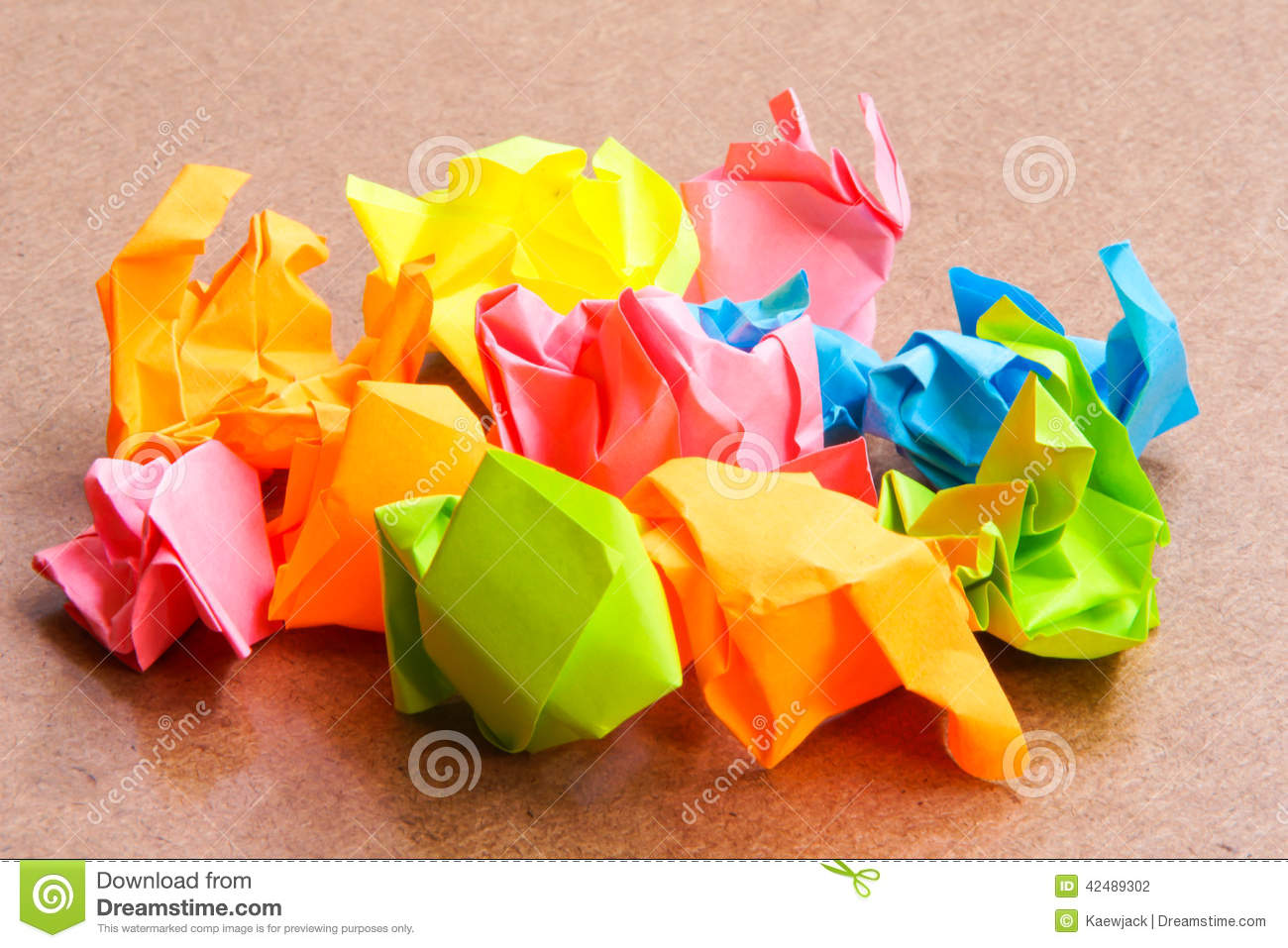 Paper Ball Crumpled Of Sticky Post It Note On Cr Stock Photo