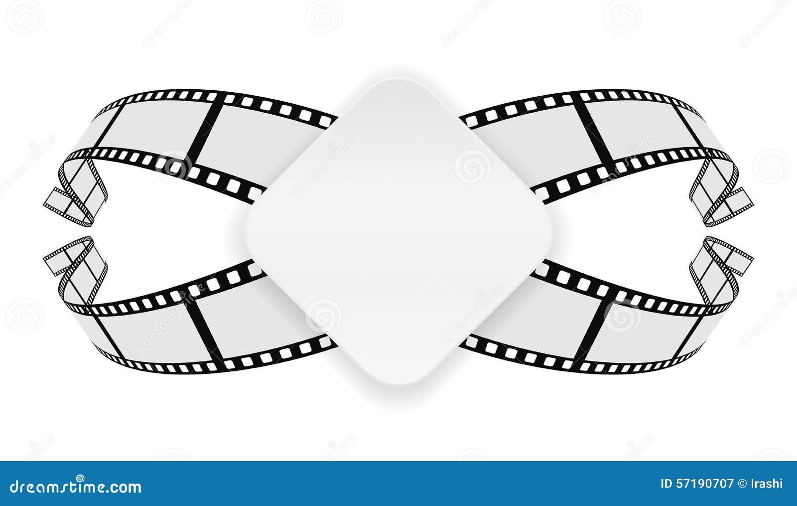 Paper Banner On Film Reel Background Stock Vector