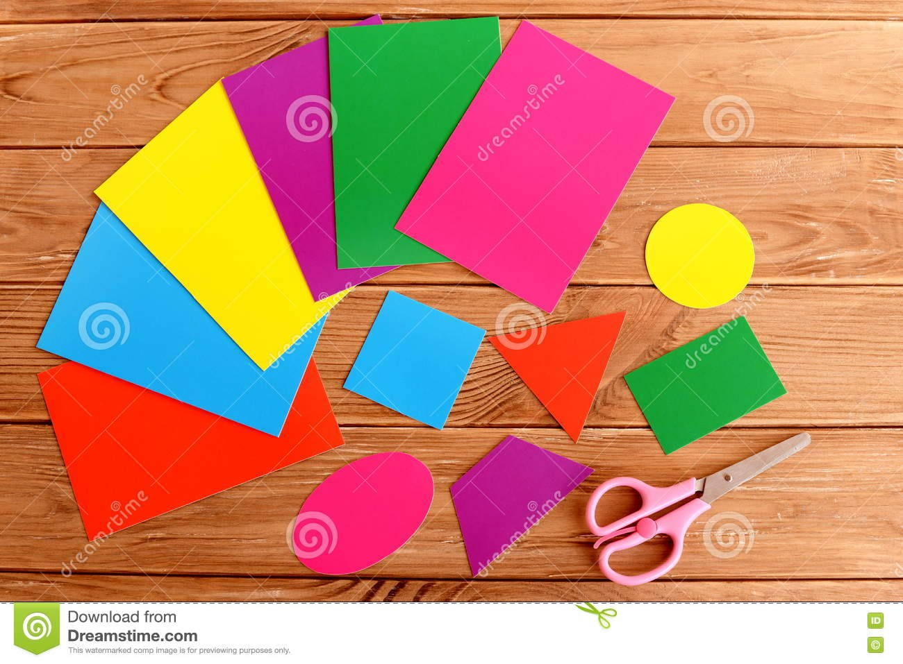 Paper Basic Geometric Shapes For Children Education. Sheets Of ...