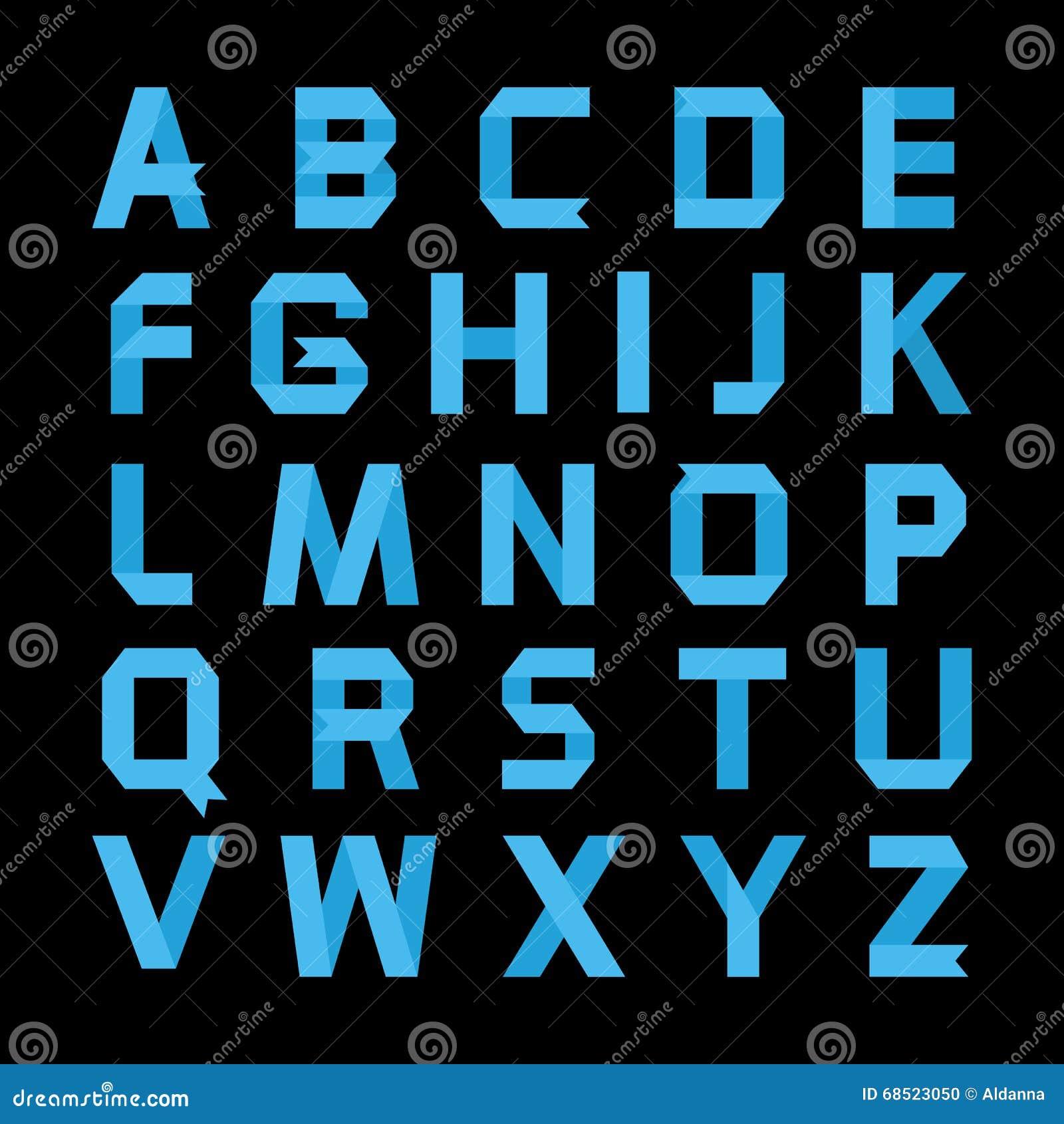 Paper blue color alphabet