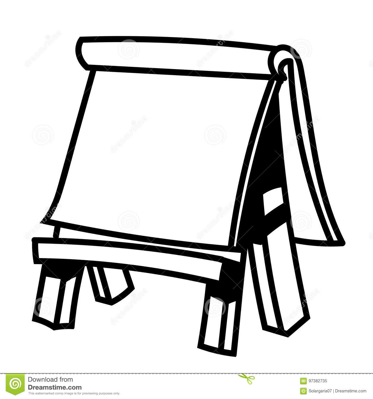 Paper Board On Wooden Easel-Vector Illustration Stock ...