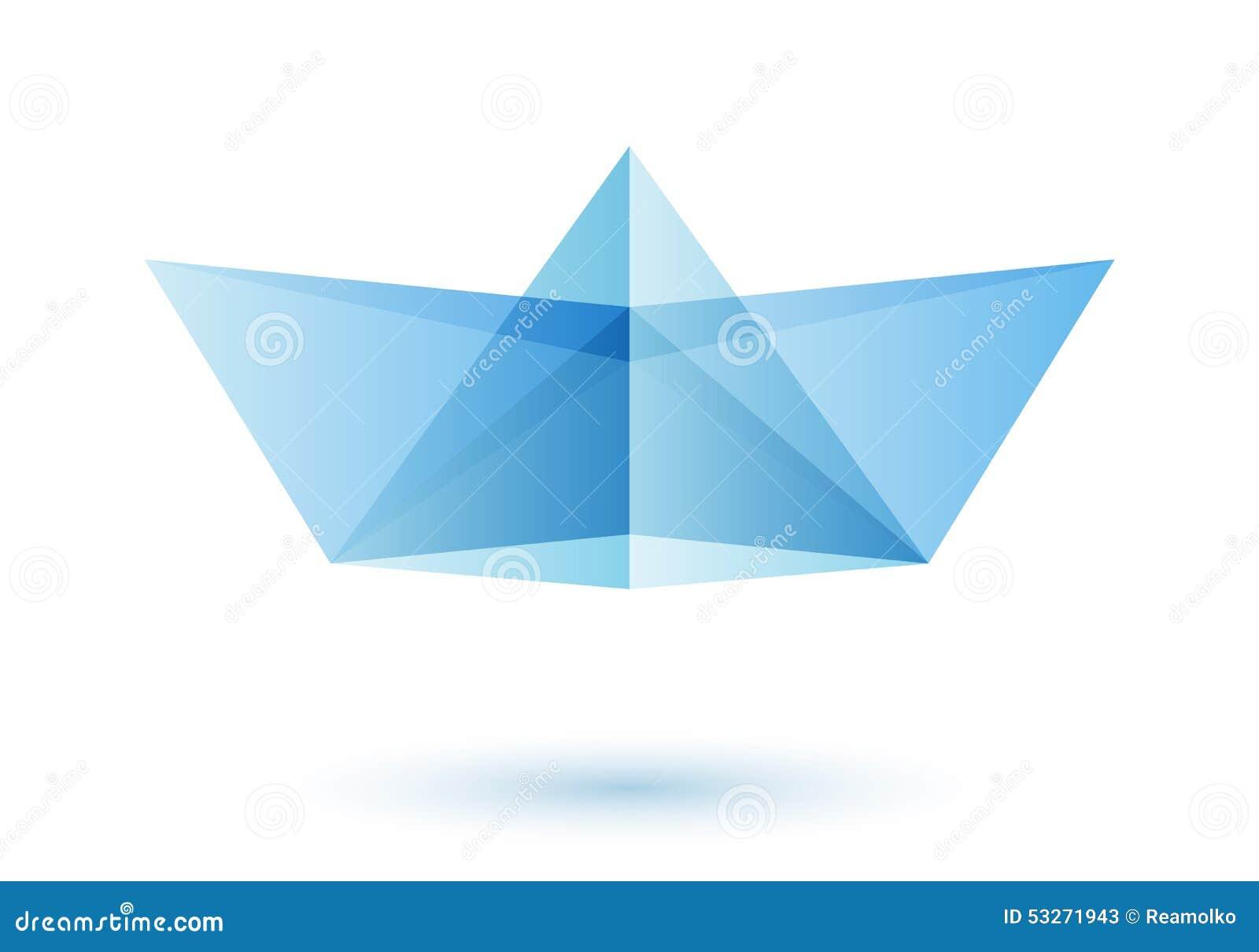 Paper Boat Logo Design Idea Stock Vector