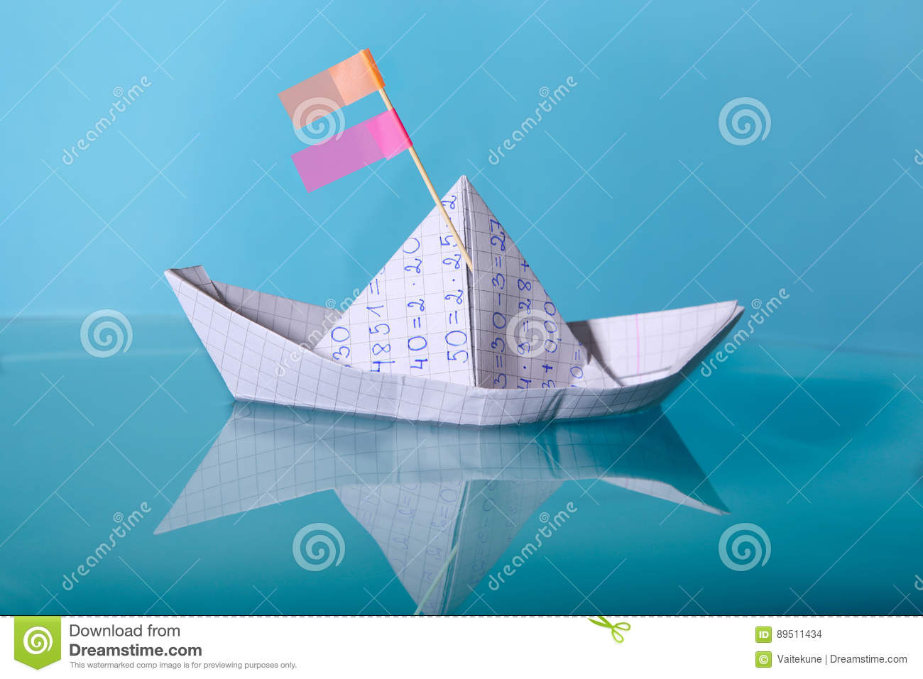 Paper Boat Made From Mathematics Notebook Paper Stock Illustration