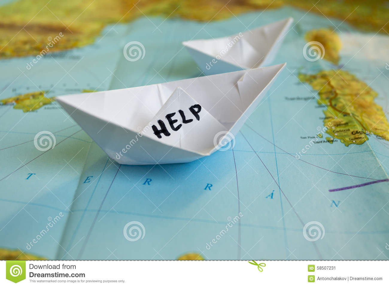 paper boat map help refugees stock photo image  paper boat map help refugees