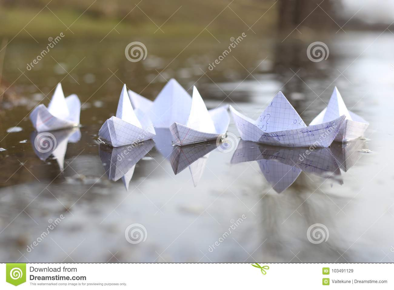 Origami Paper Ships Sailing In River Stock Image Image Of Algebra