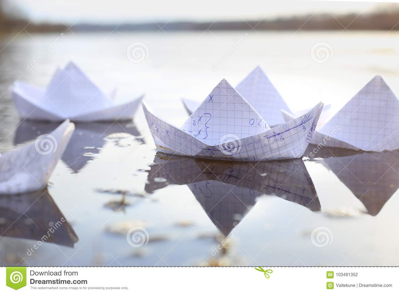 Origami Paper Ships Sailing In River Stock Photo Image Of Outdoor