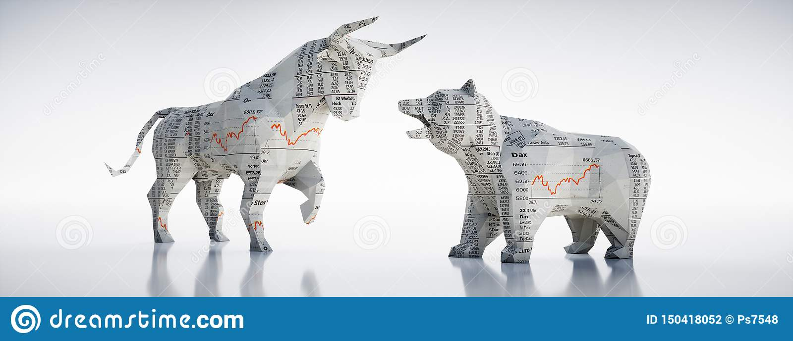 Paper Bull and bear - concept stock market
