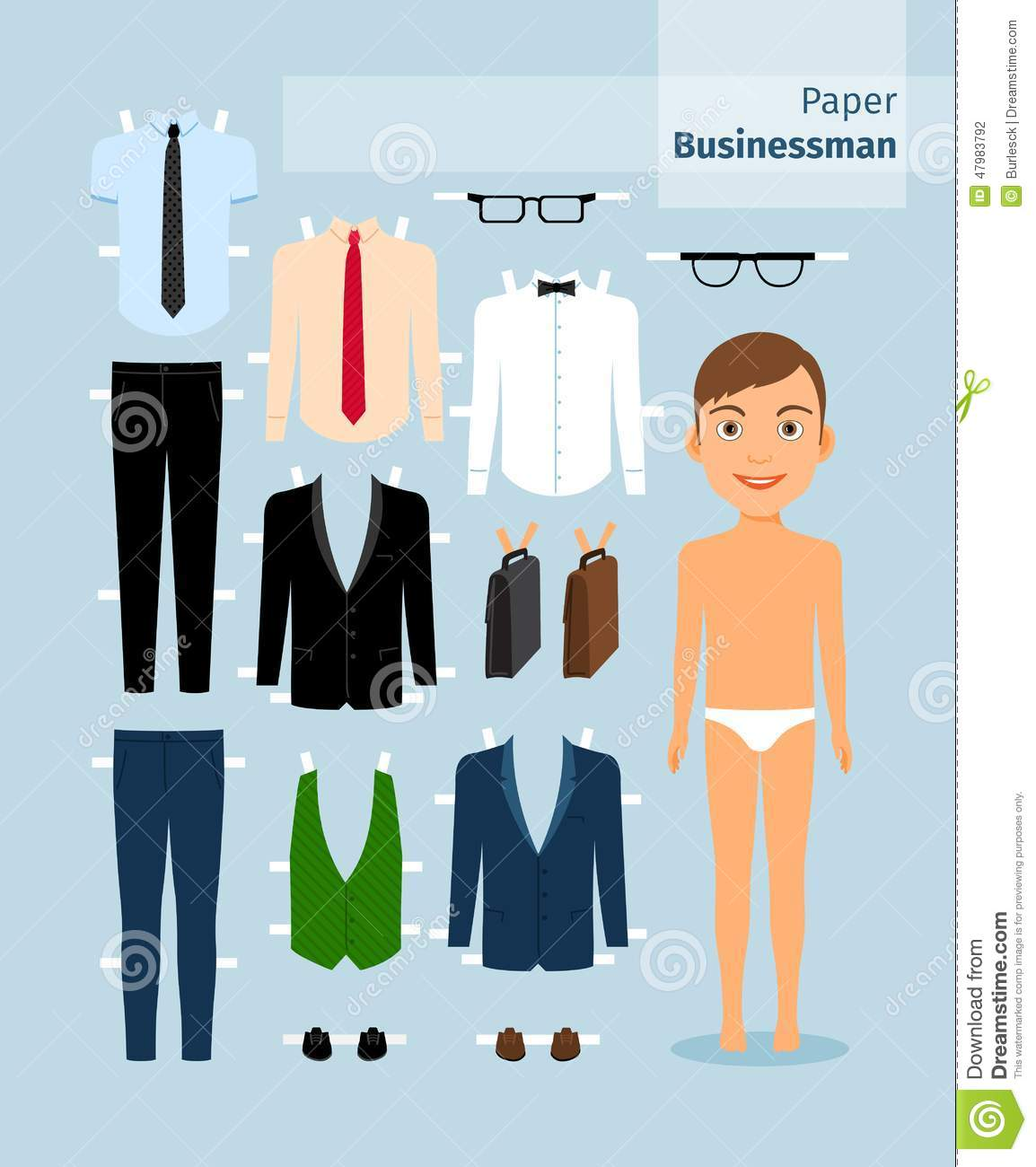 Paper Businessman Suit Shirt Glasses And Stock Vector