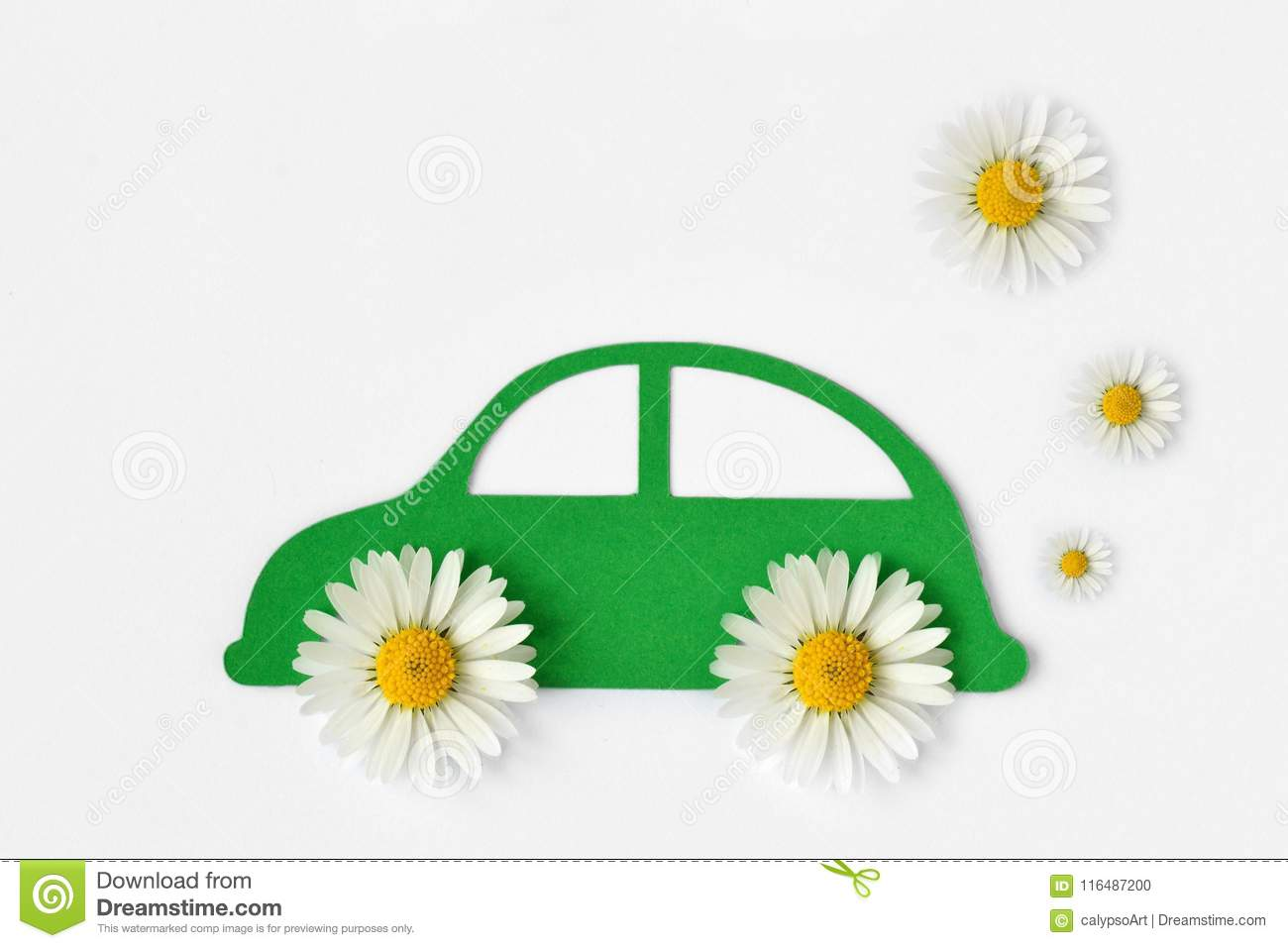 Paper Car Cut Out With Daisy Flowers Ecolology Car Concept Stock