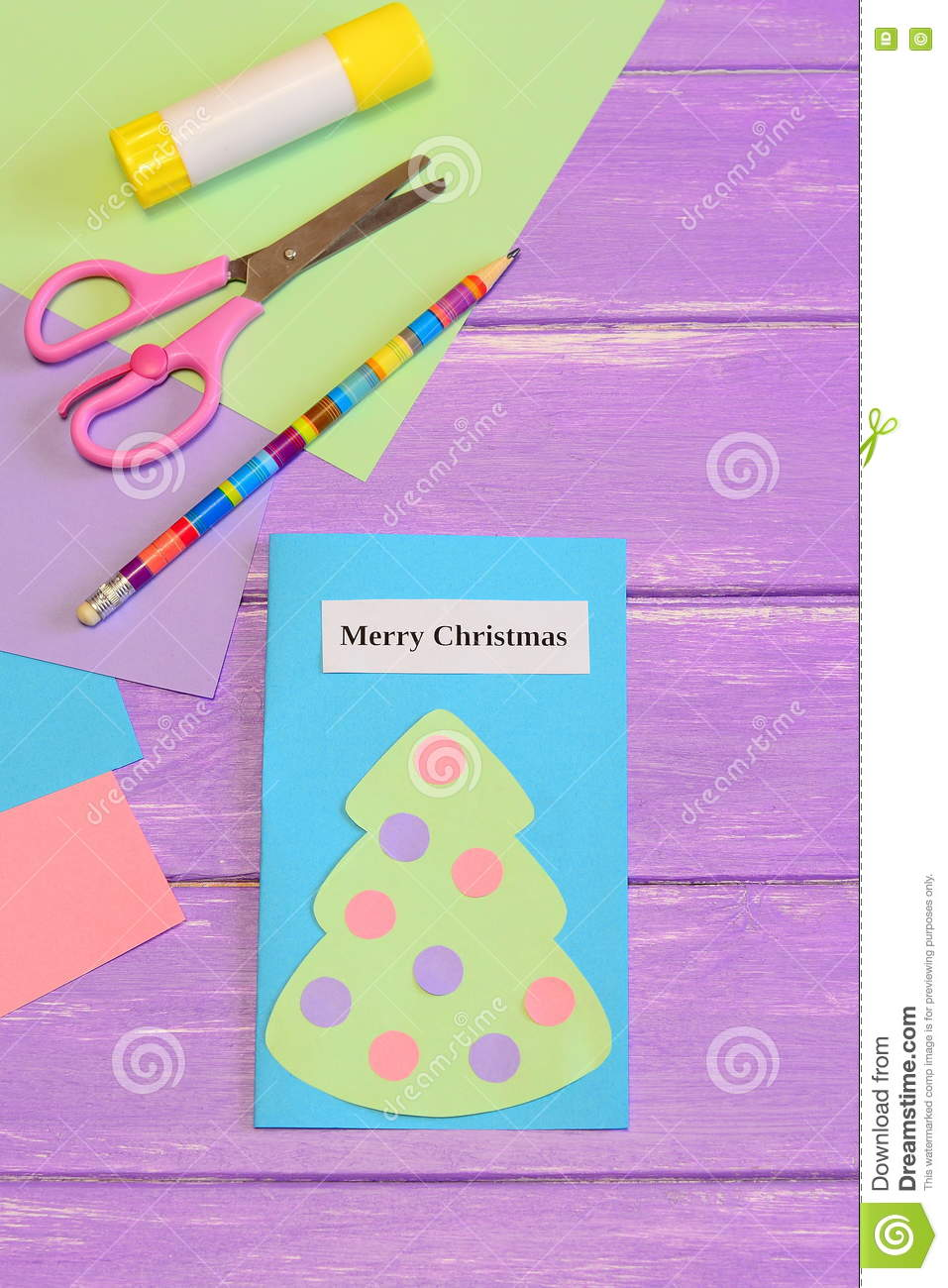 Paper card merry christmas cute greeting card with paper for Craft paper card stock