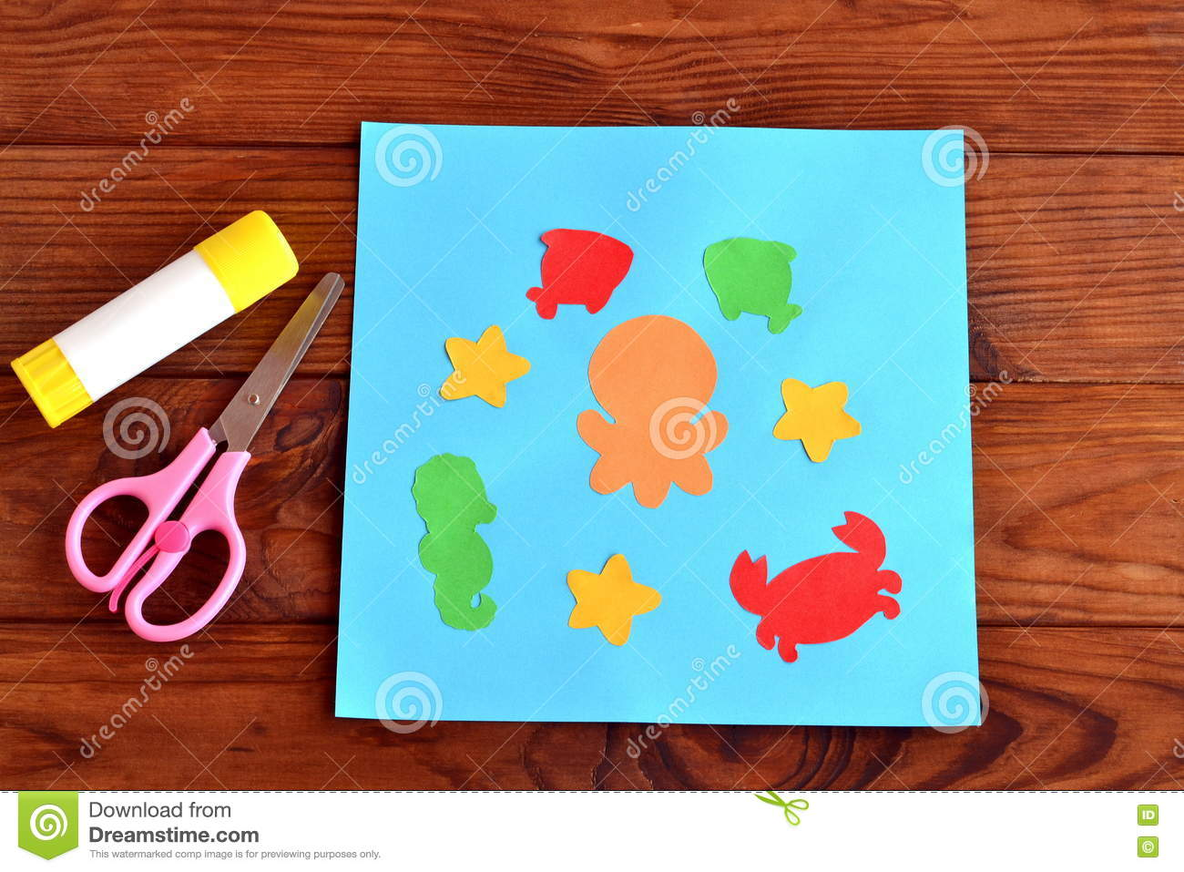 Paper Card With Sea Animals And Fishes Creative Ocean Creatures
