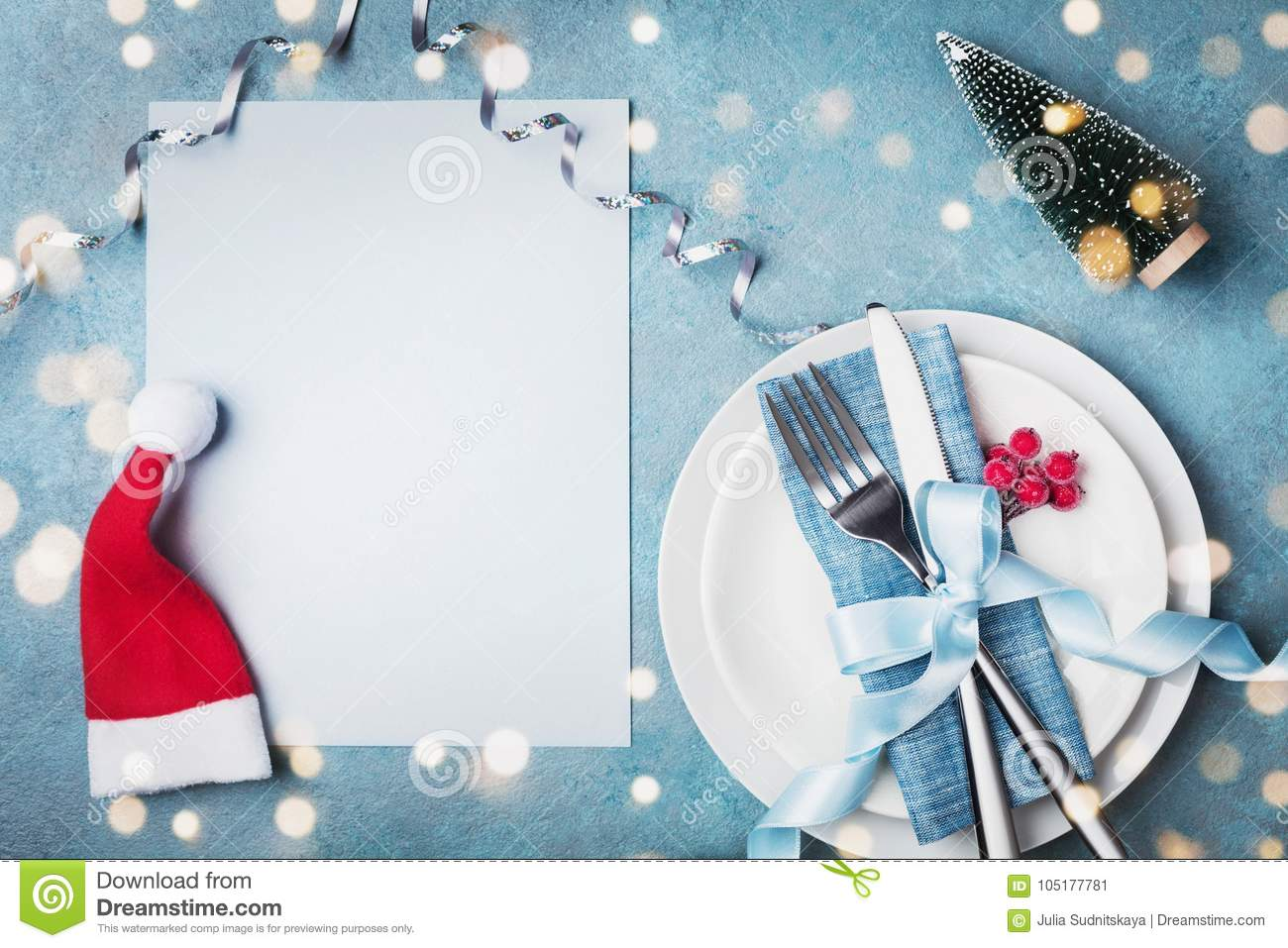 Paper Card, White Plate And Cutlery Decorated Santa Hat And Small ...