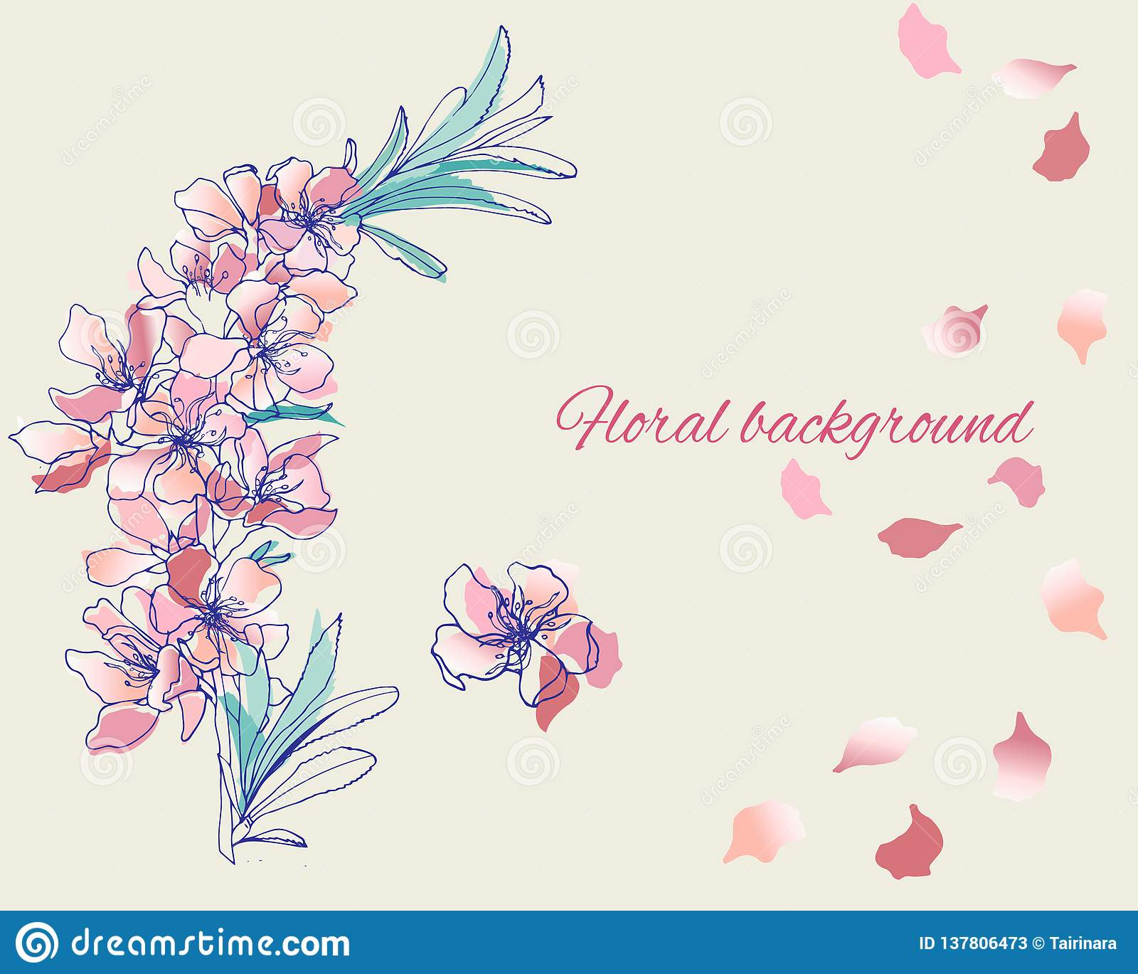 Painted vector flowers in gentle pink colors. Spring contour flowers watercolor