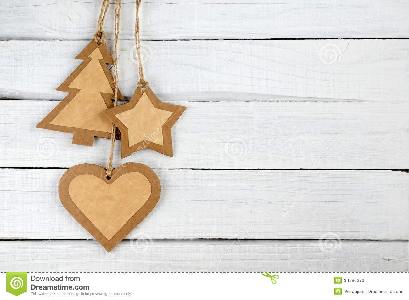 Paper christmas decorations on wood stock photo image for Wooden christmas decorations