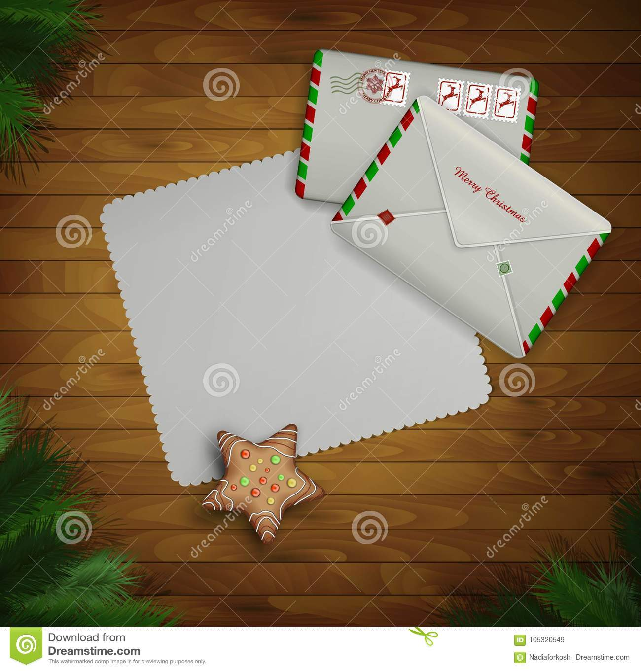 paper christmas invitation and two mail envelopes on the wooden