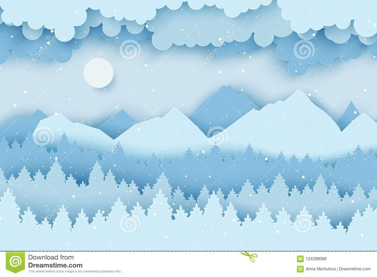 a8cf29cd41a5c3 Paper Christmas Postcard With Winter Landscape With Pine Trees Stock ...