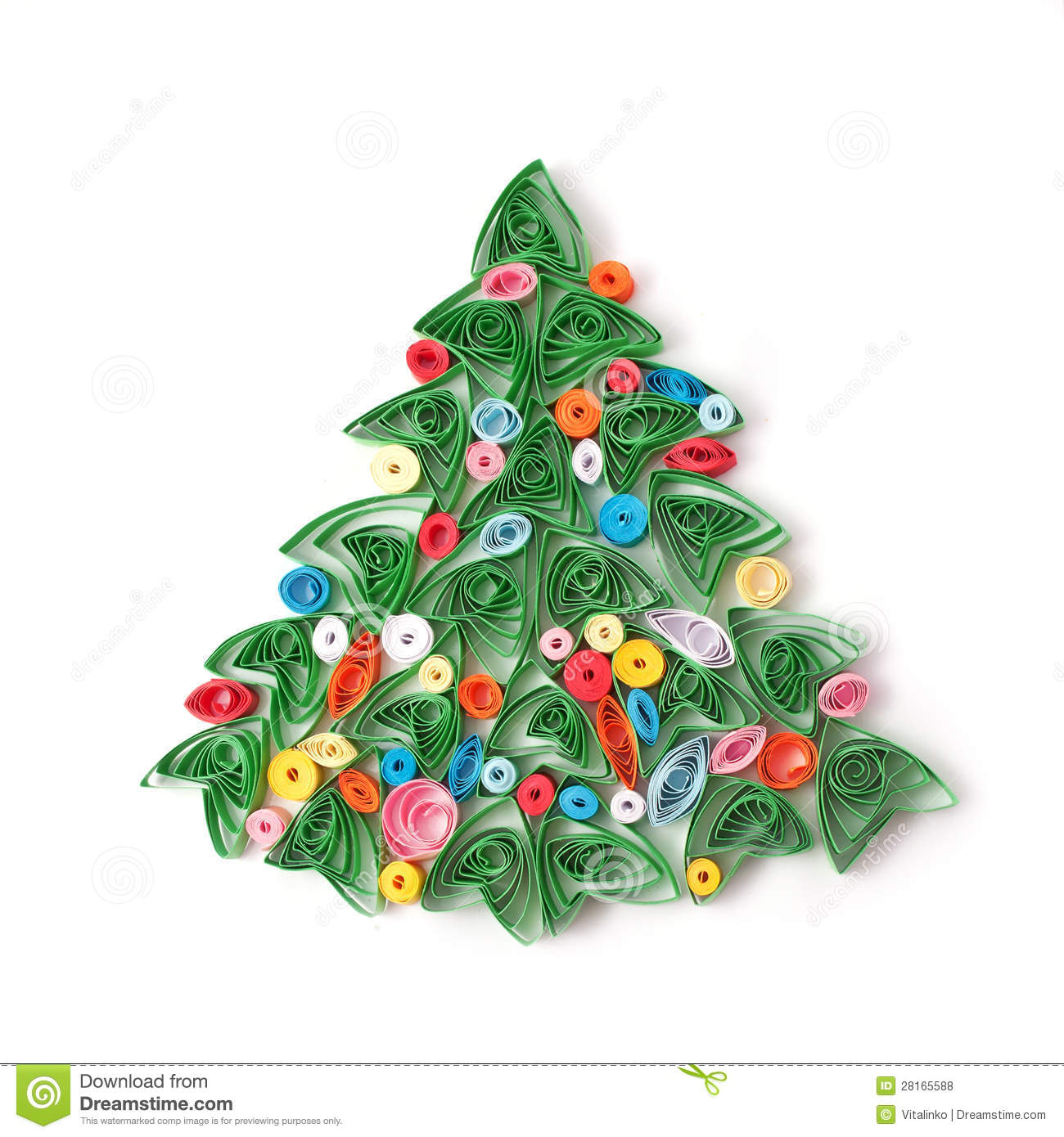Christmas Tree Made By Paper: Paper Christmas Tree, Hand Made. Stock Photo
