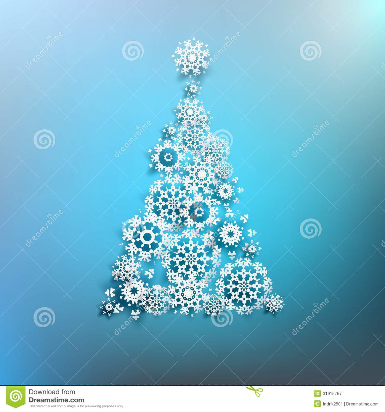 Paper Christmas Tree Made From Snowflakes EPS 10 Stock Vector