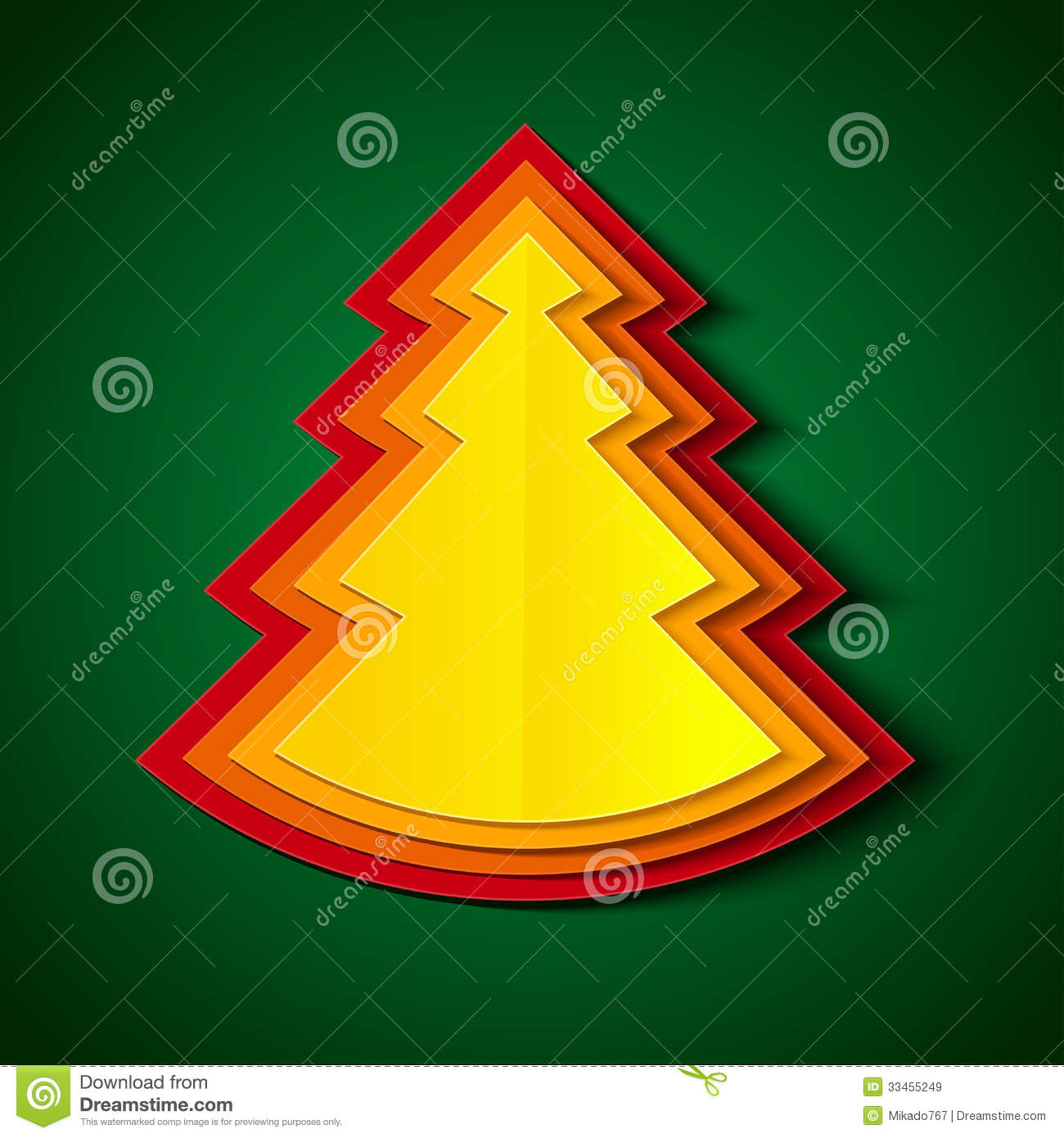 Paper christmas tree royalty free stock images image for Red and yellow christmas tree