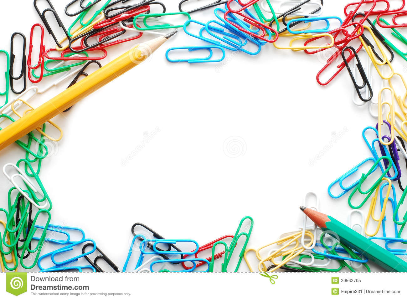 Paper clip border stock image. Image of pencil, stationary ...  Paper