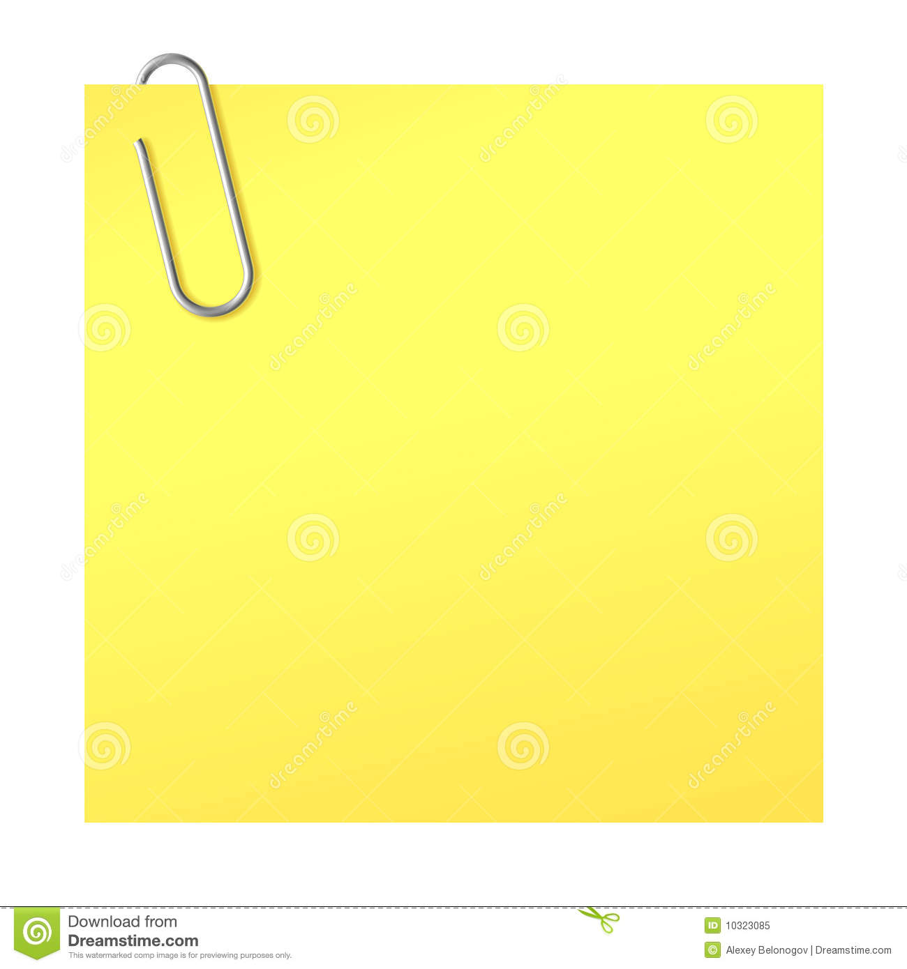 paper clip and yellow sticker stock vector - illustration of