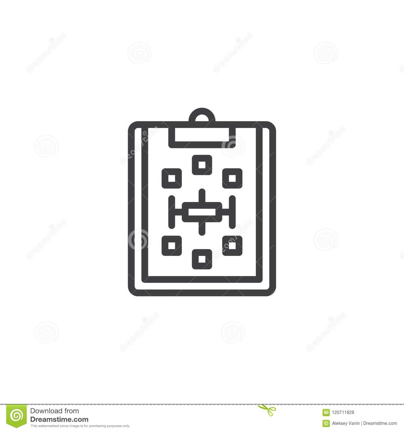Paper clipboard with scheme outline icon